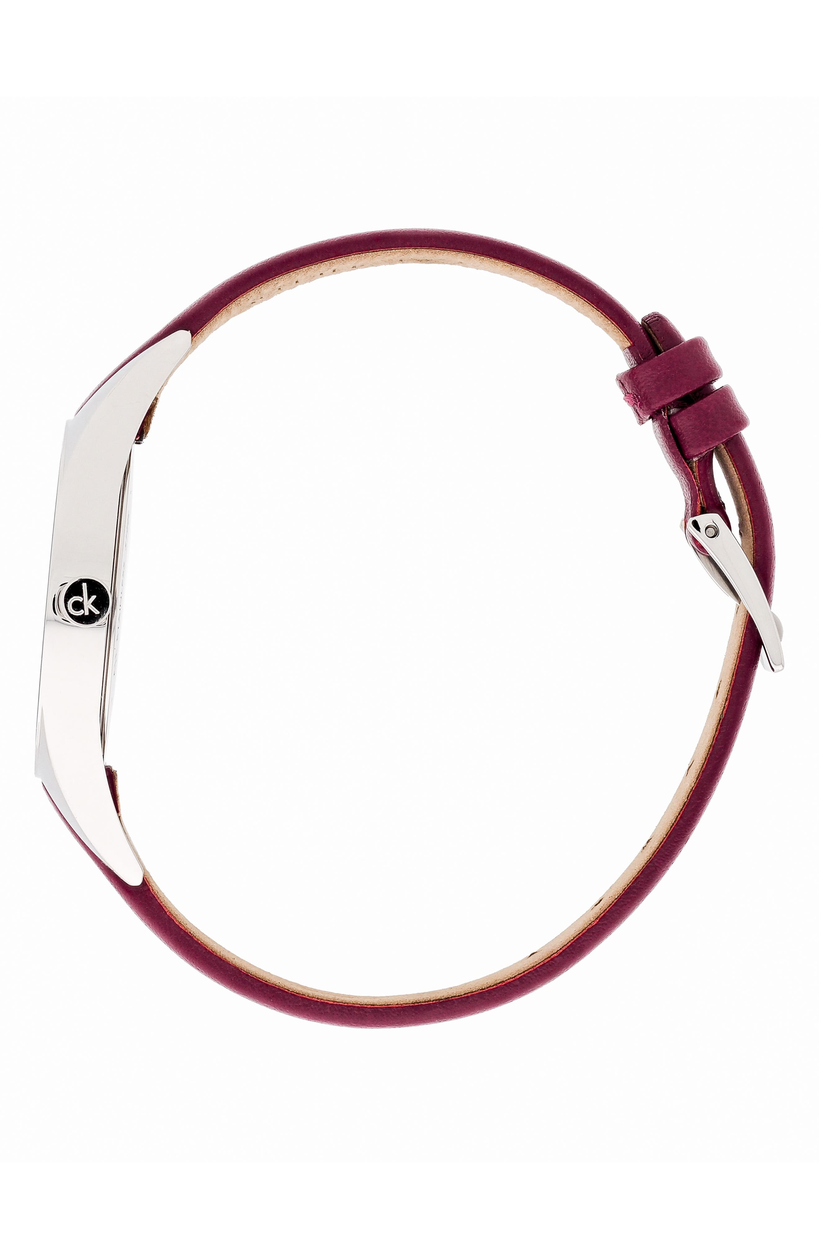 CALVIN KLEIN, Achieve Rebel Leather Band Watch, 29mm, Alternate thumbnail 3, color, RED/ BLUE/ SILVER