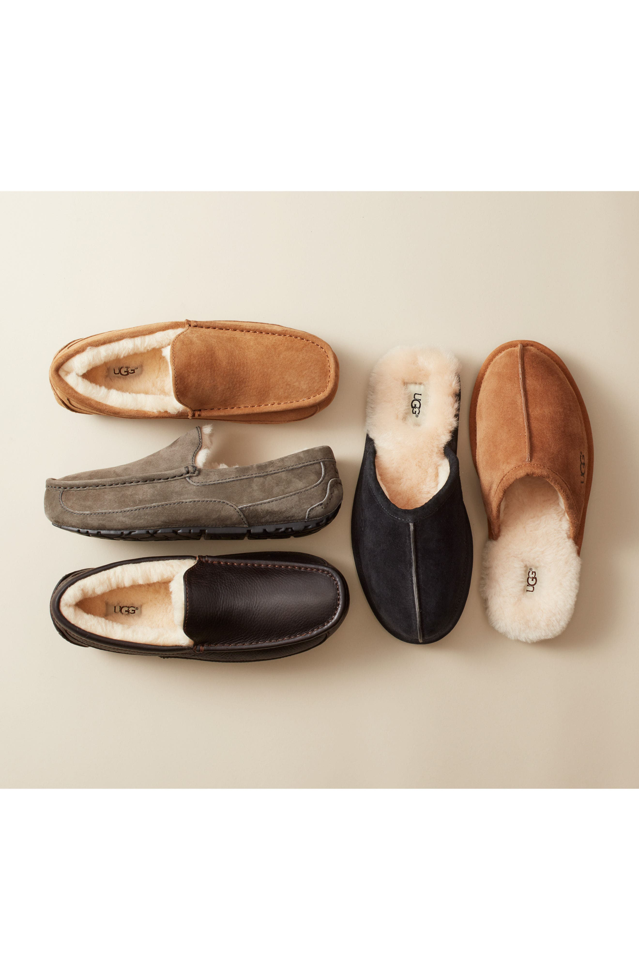 UGG<SUP>®</SUP>, Ascot Suede Slipper, Alternate thumbnail 9, color, BLACK SUEDE
