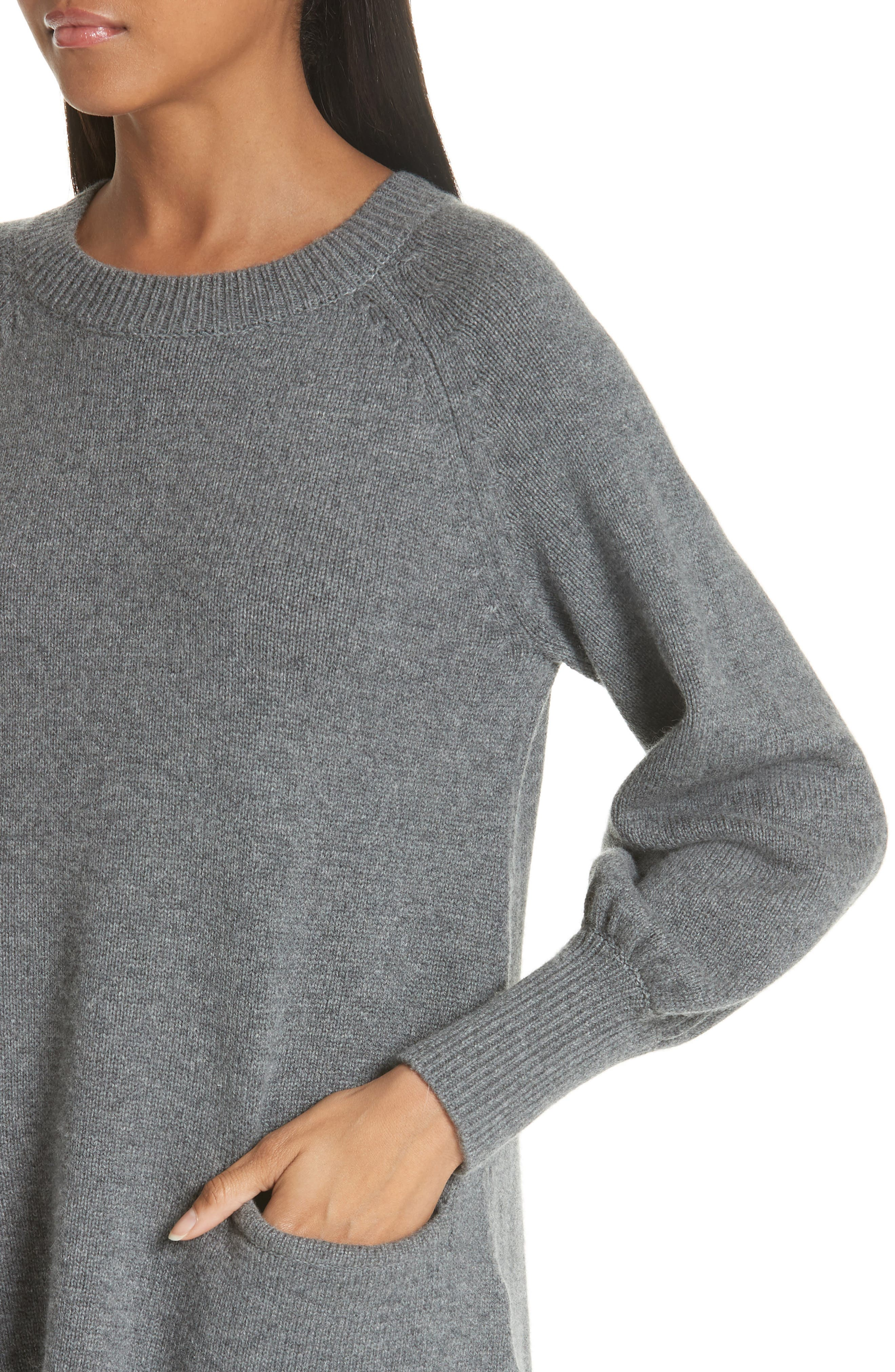 CO, Wool & Cashmere Tunic Sweater, Alternate thumbnail 4, color, GREY