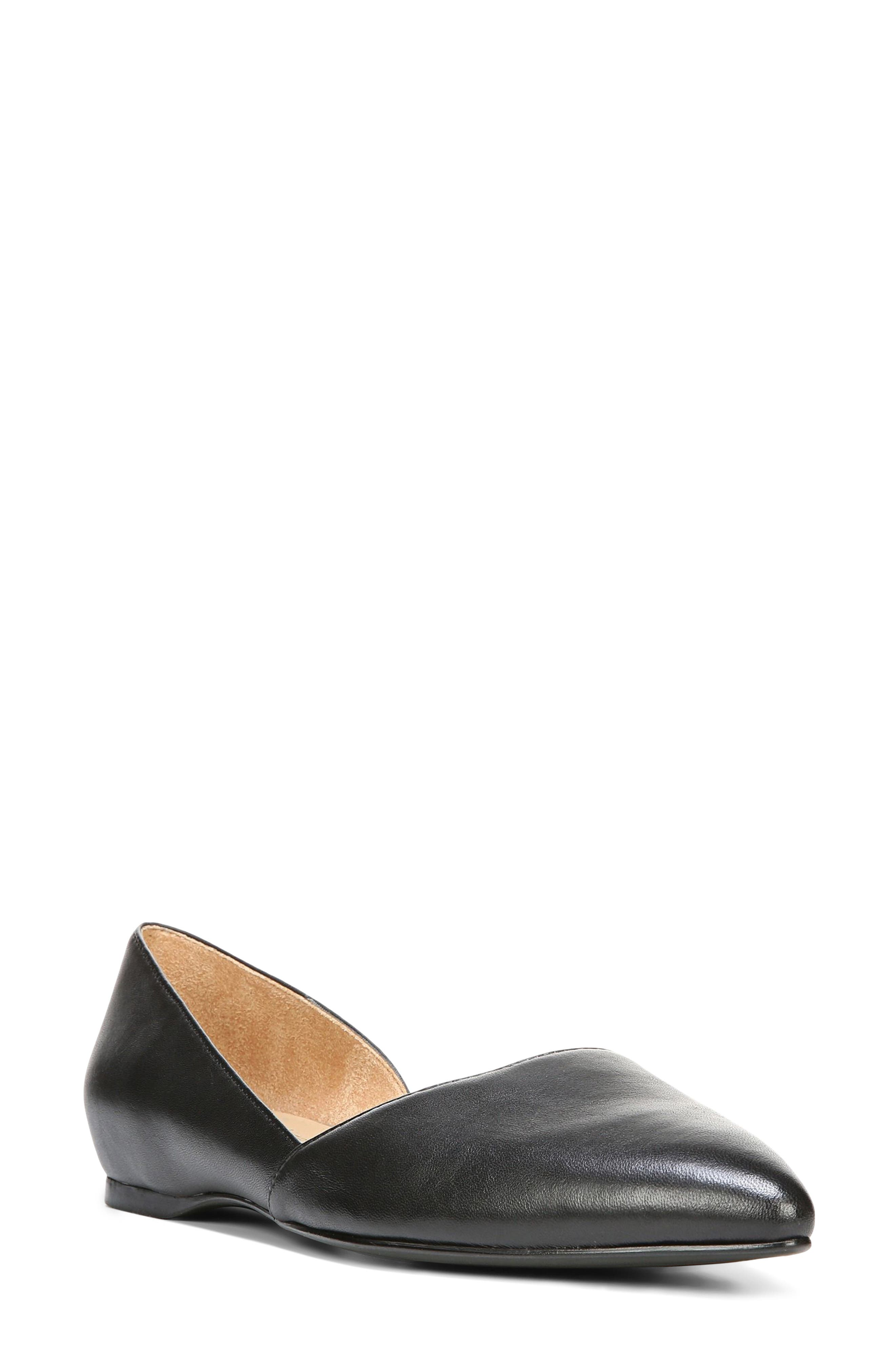 NATURALIZER, Samantha Half d'Orsay Flat, Main thumbnail 1, color, BLACK LEATHER