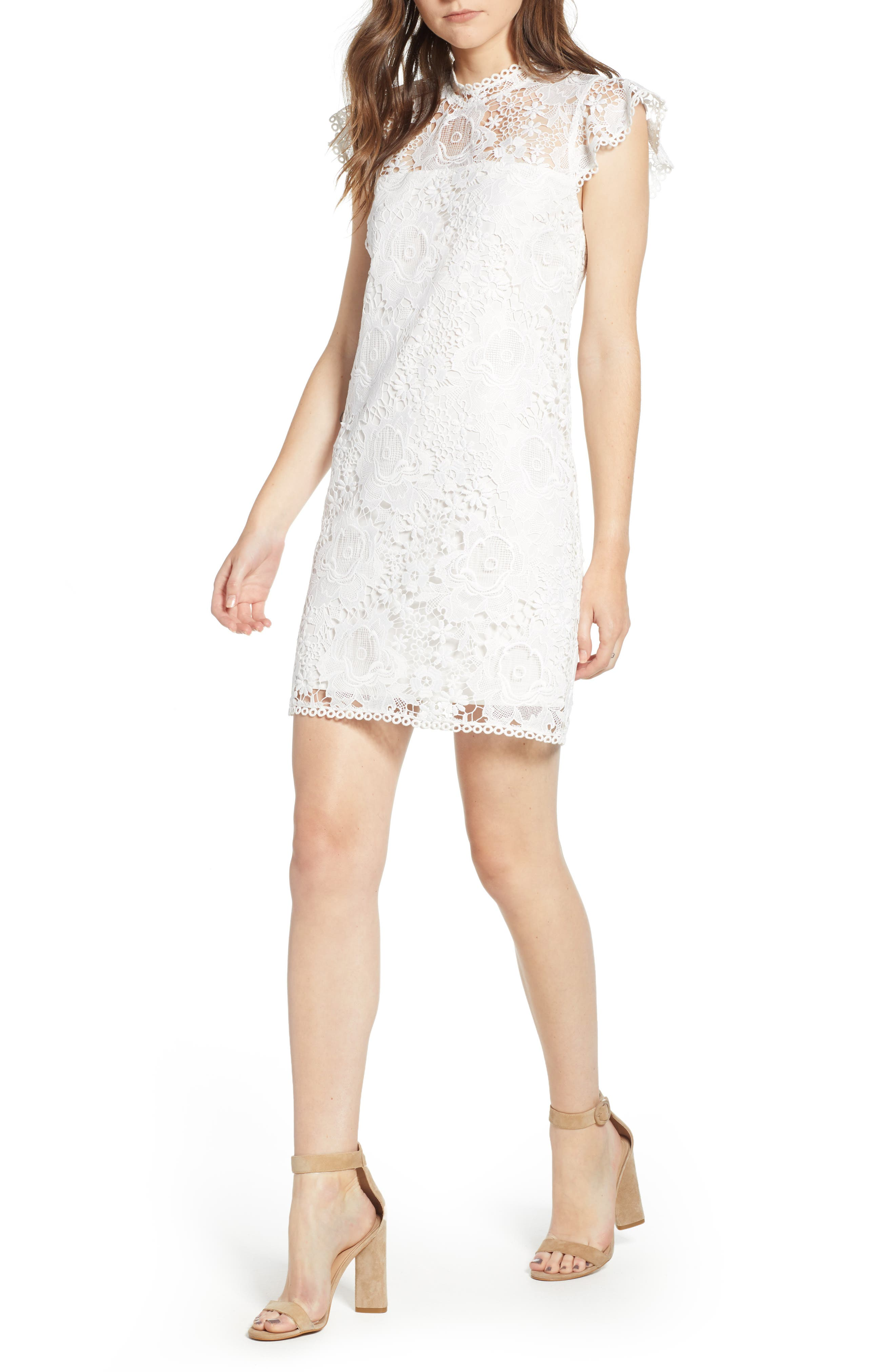 CUPCAKES AND CASHMERE, Floral Lace Shift Dress, Main thumbnail 1, color, WHITE