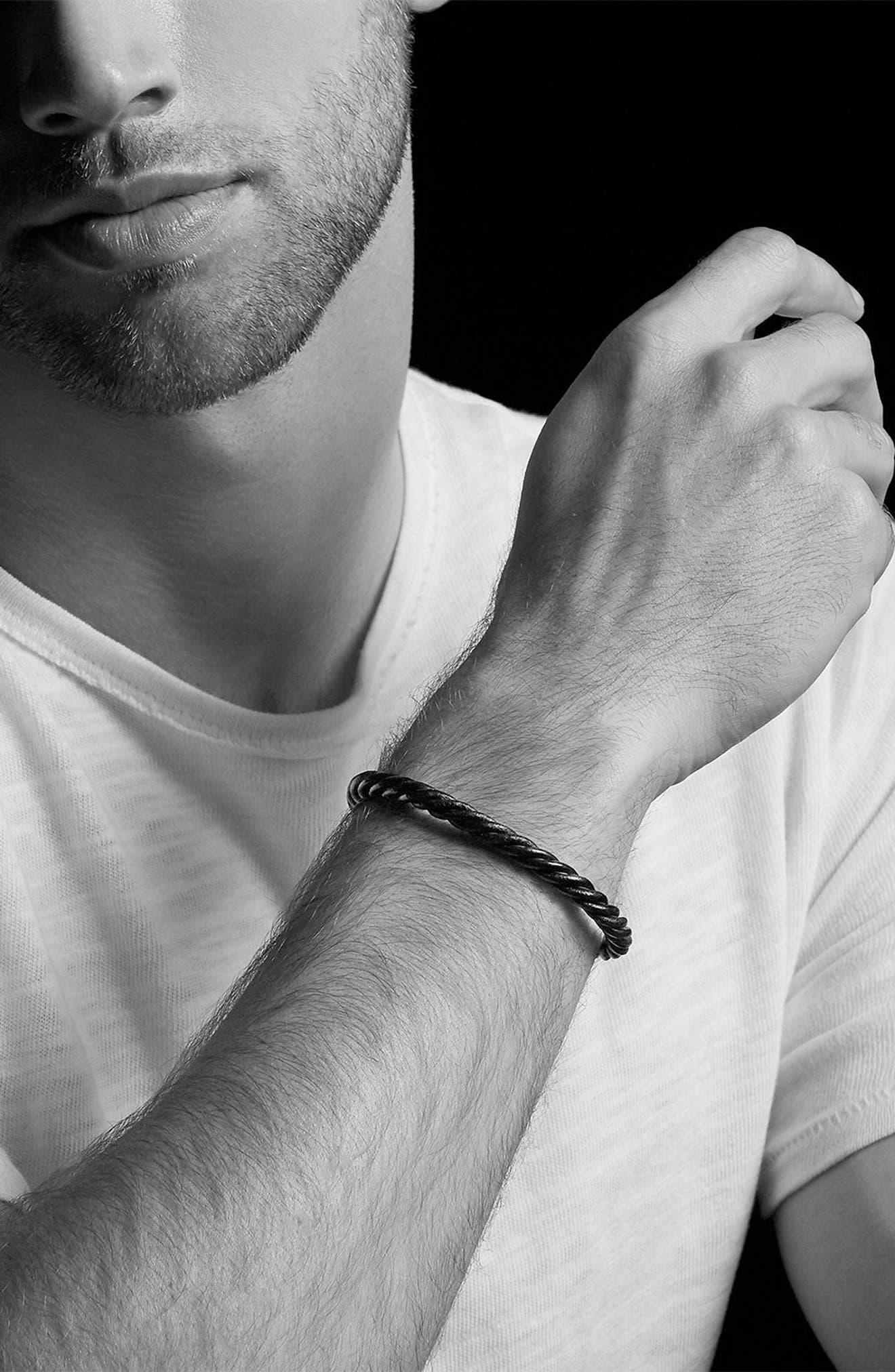 DAVID YURMAN, Leather Cuff Bracelet, Alternate thumbnail 2, color, SILVER/ BLACK LEATHER
