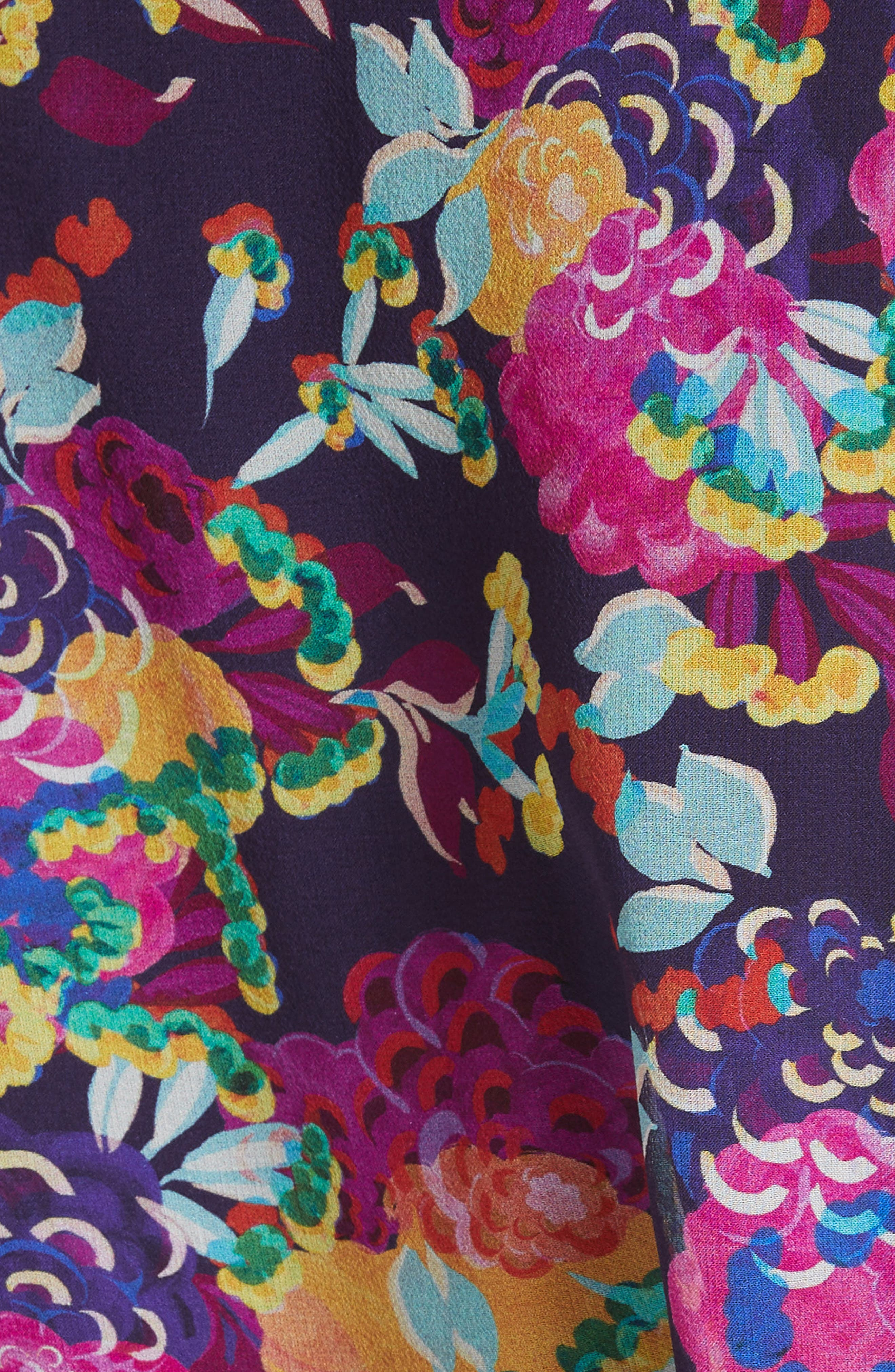 SALONI, Tilly Ruffle Silk Dress, Alternate thumbnail 5, color, CAMELLIA