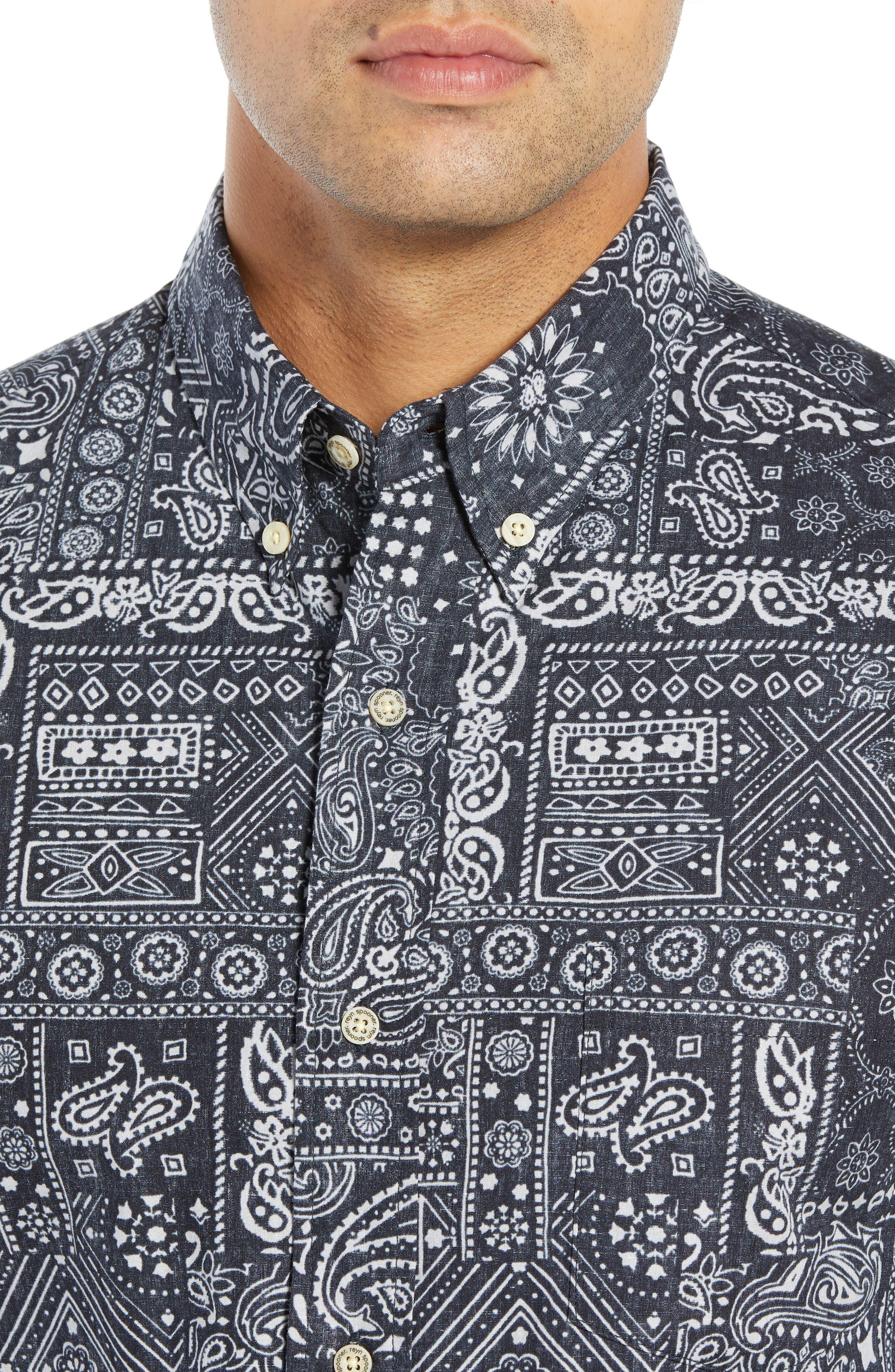 REYN SPOONER, Aloha Bandana Regular Fit Sport Shirt, Alternate thumbnail 2, color, 001