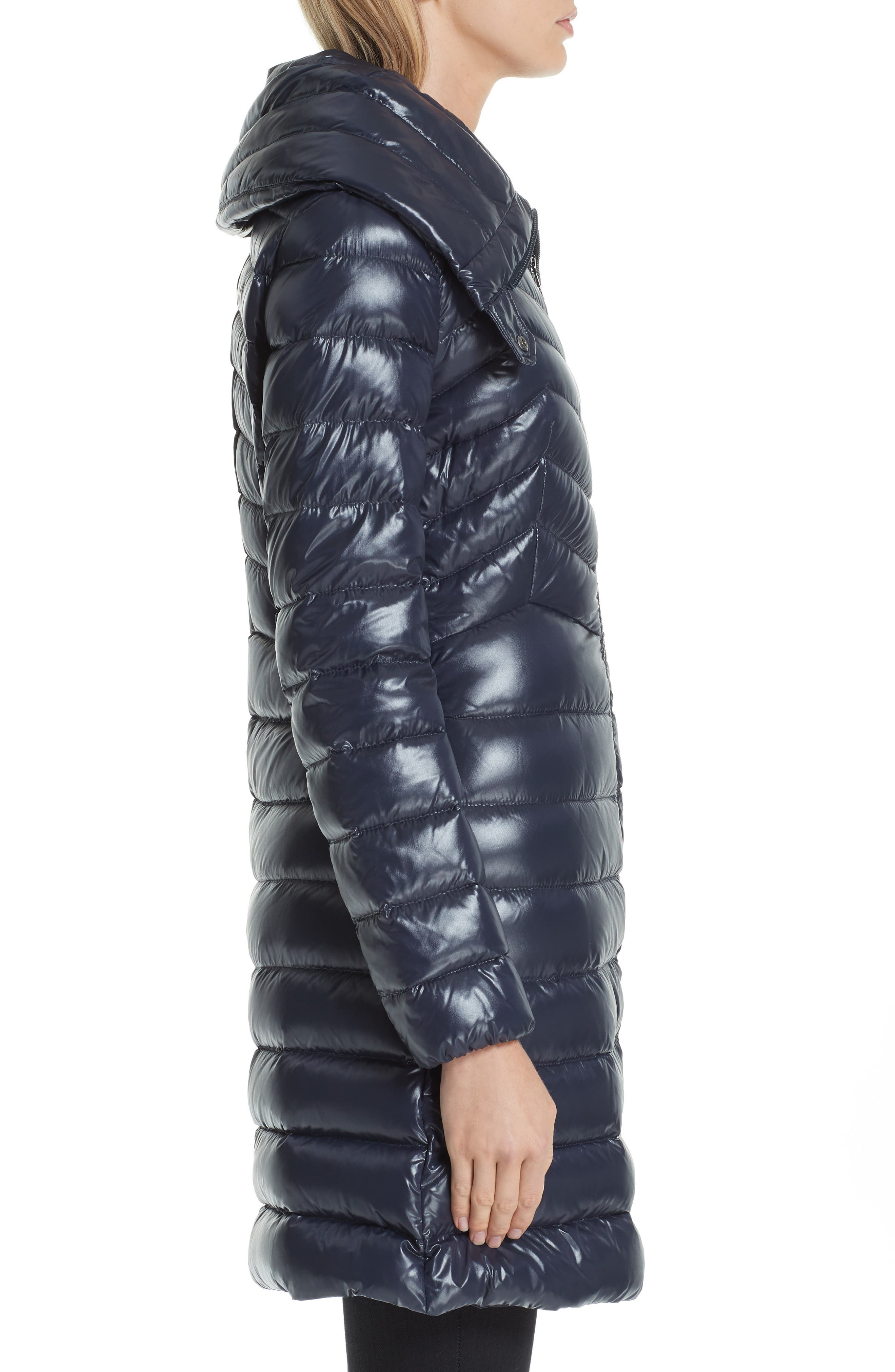 MONCLER, Faucon Quilted Down Coat, Alternate thumbnail 3, color, NAVY