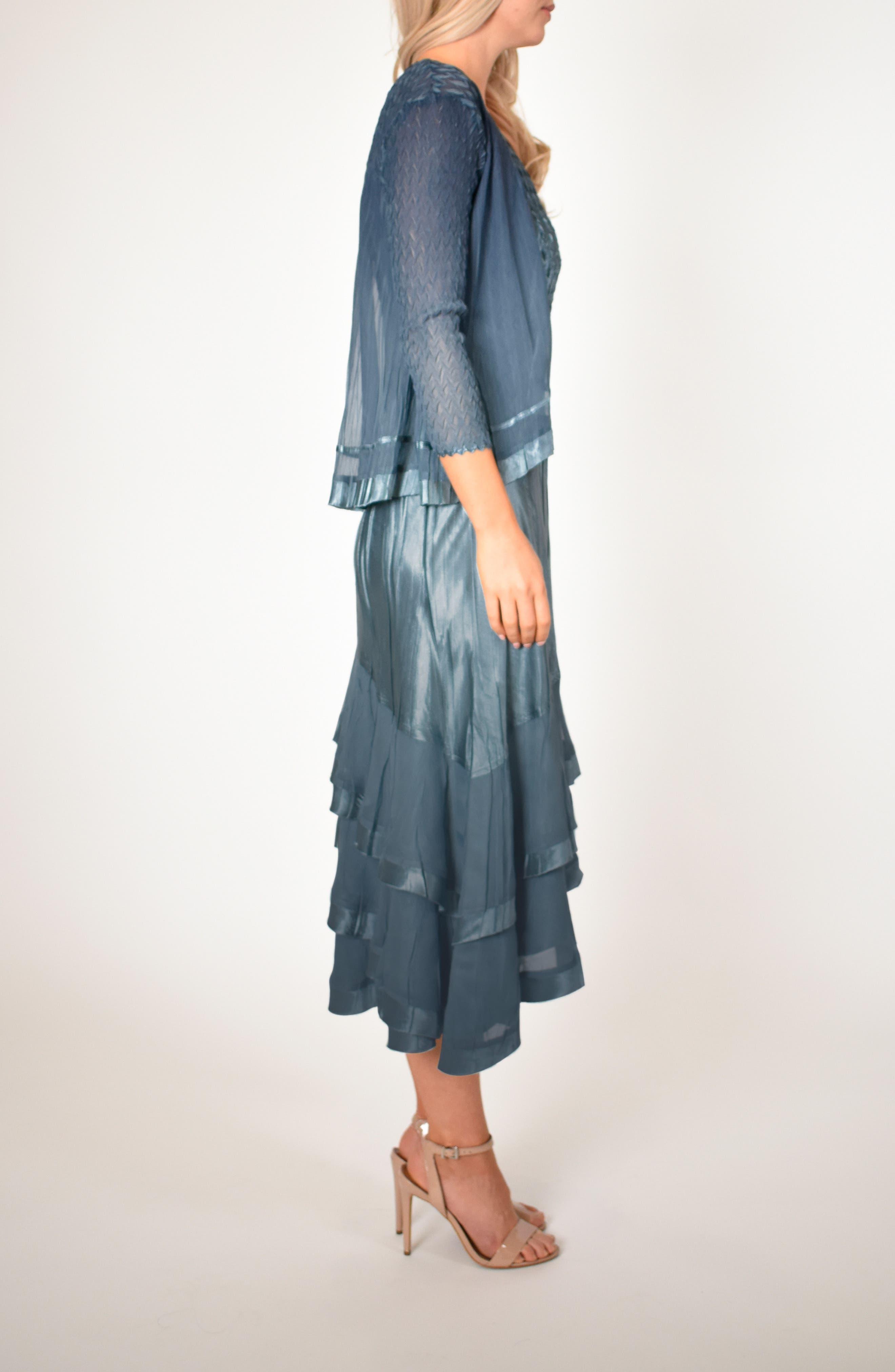 KOMAROV, Asymmetrical Jacket Dress, Alternate thumbnail 7, color, SILVER BLUE NIGHT OMBRE