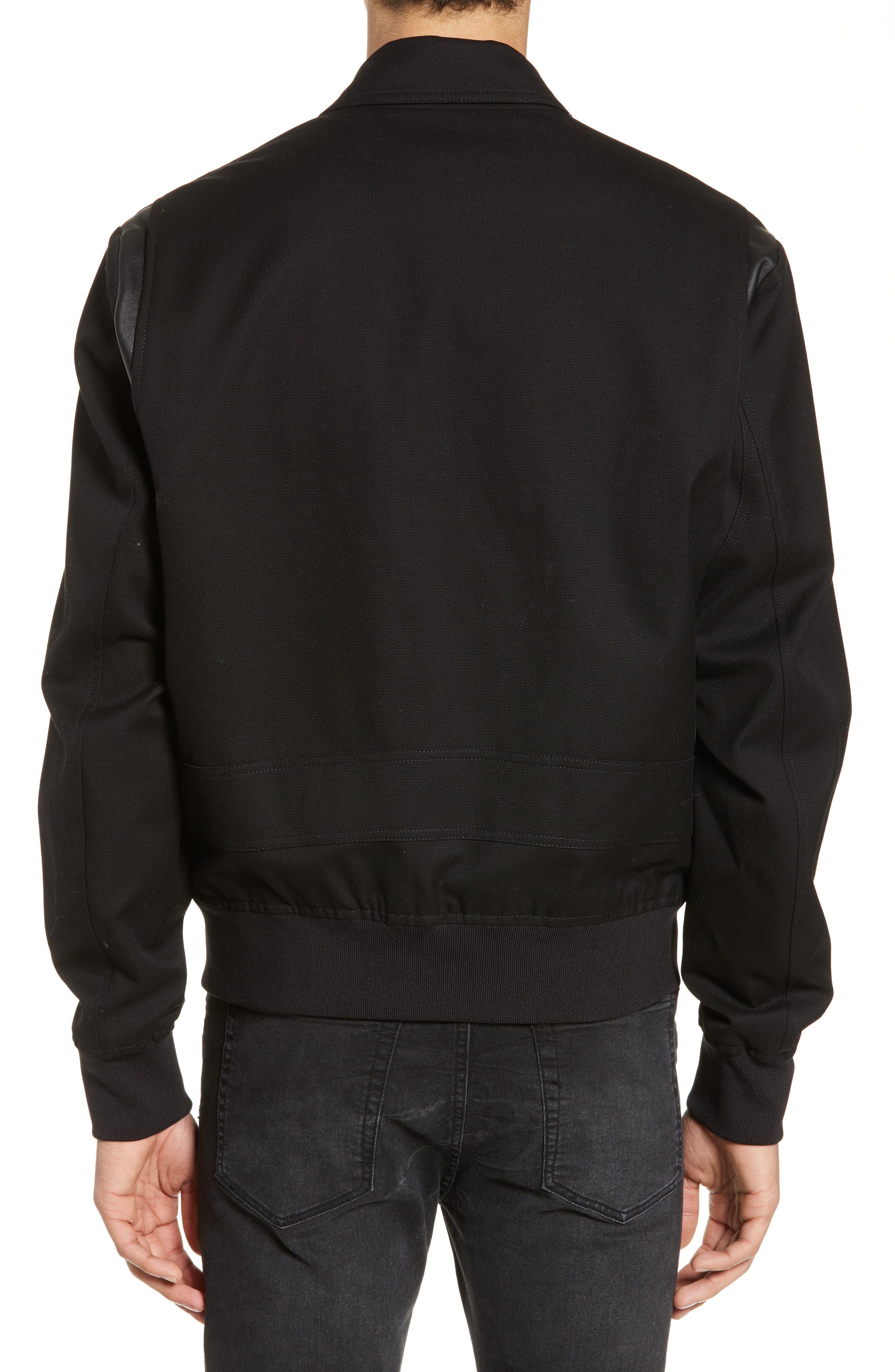THE KOOPLES, Leather Detail Jacket, Alternate thumbnail 2, color, BLACK