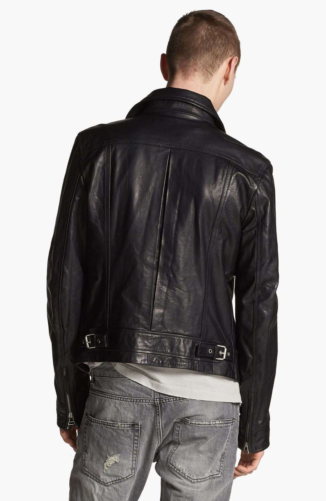 PIERRE BALMAIN, Leather Moto Jacket, Alternate thumbnail 2, color, 001
