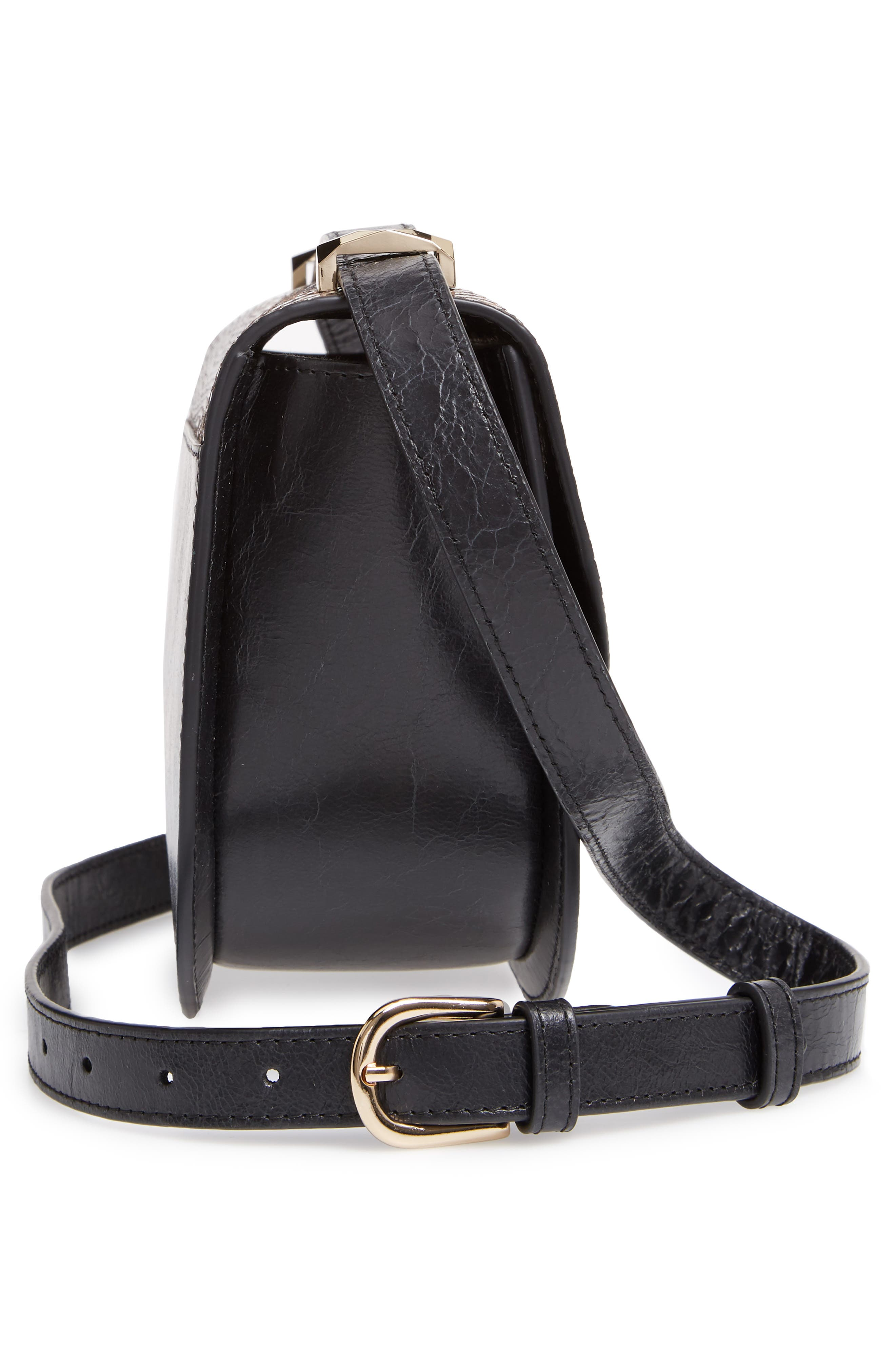 A.P.C., Sac Genève Snake Embossed Leather Shoulder Bag, Alternate thumbnail 6, color, NOIR
