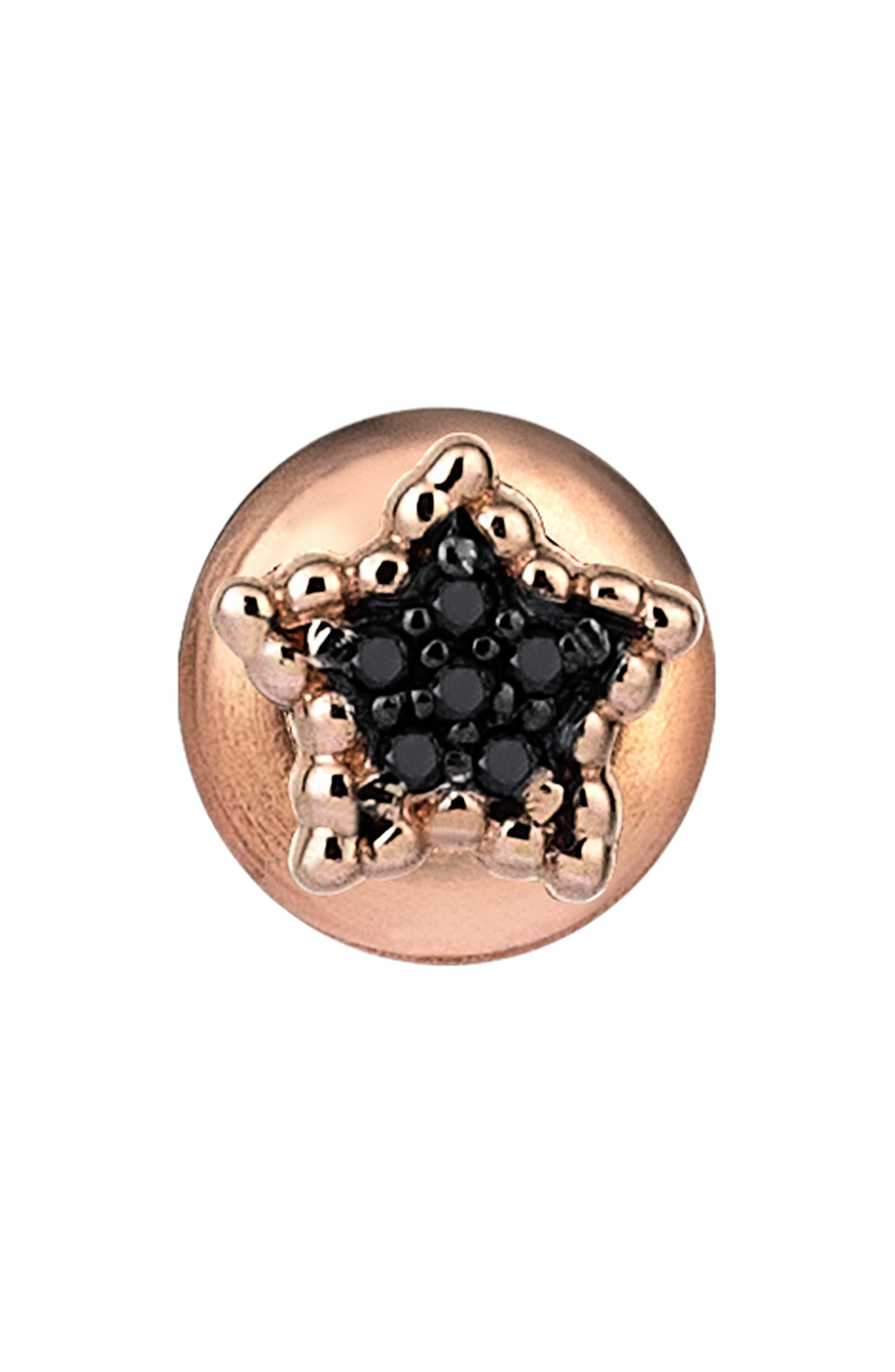 KISMET BY MILKA, Black Diamond Beaded Star Stud Earring, Main thumbnail 1, color, ROSE GOLD