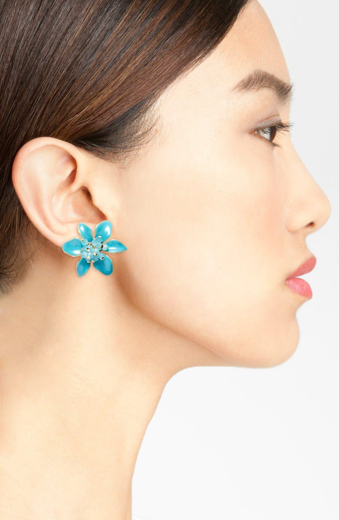 KATE SPADE NEW YORK, 'lovely lilies' stud earrings, Alternate thumbnail 2, color, 440