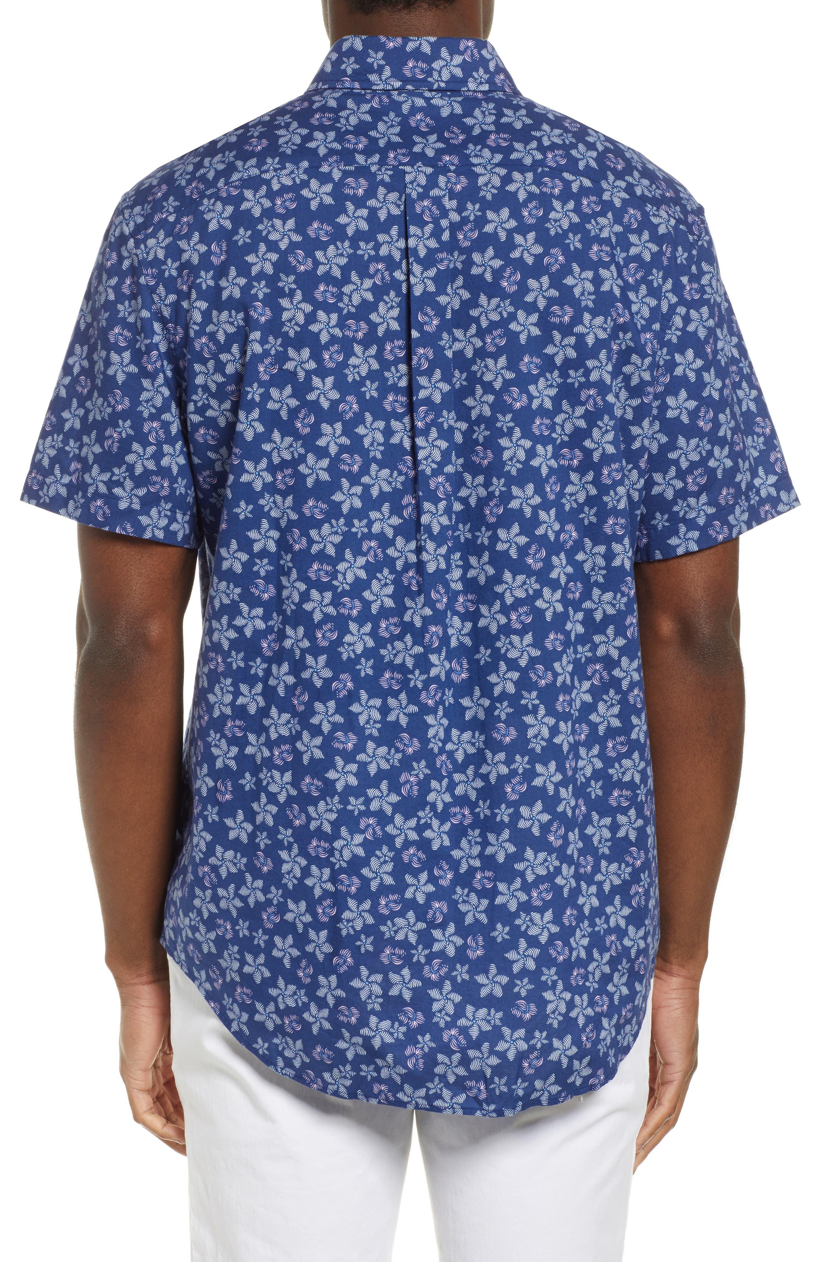 VINEYARD VINES, Murray Slim Fit Floral Print Sport Shirt, Alternate thumbnail 3, color, DEEP BAY
