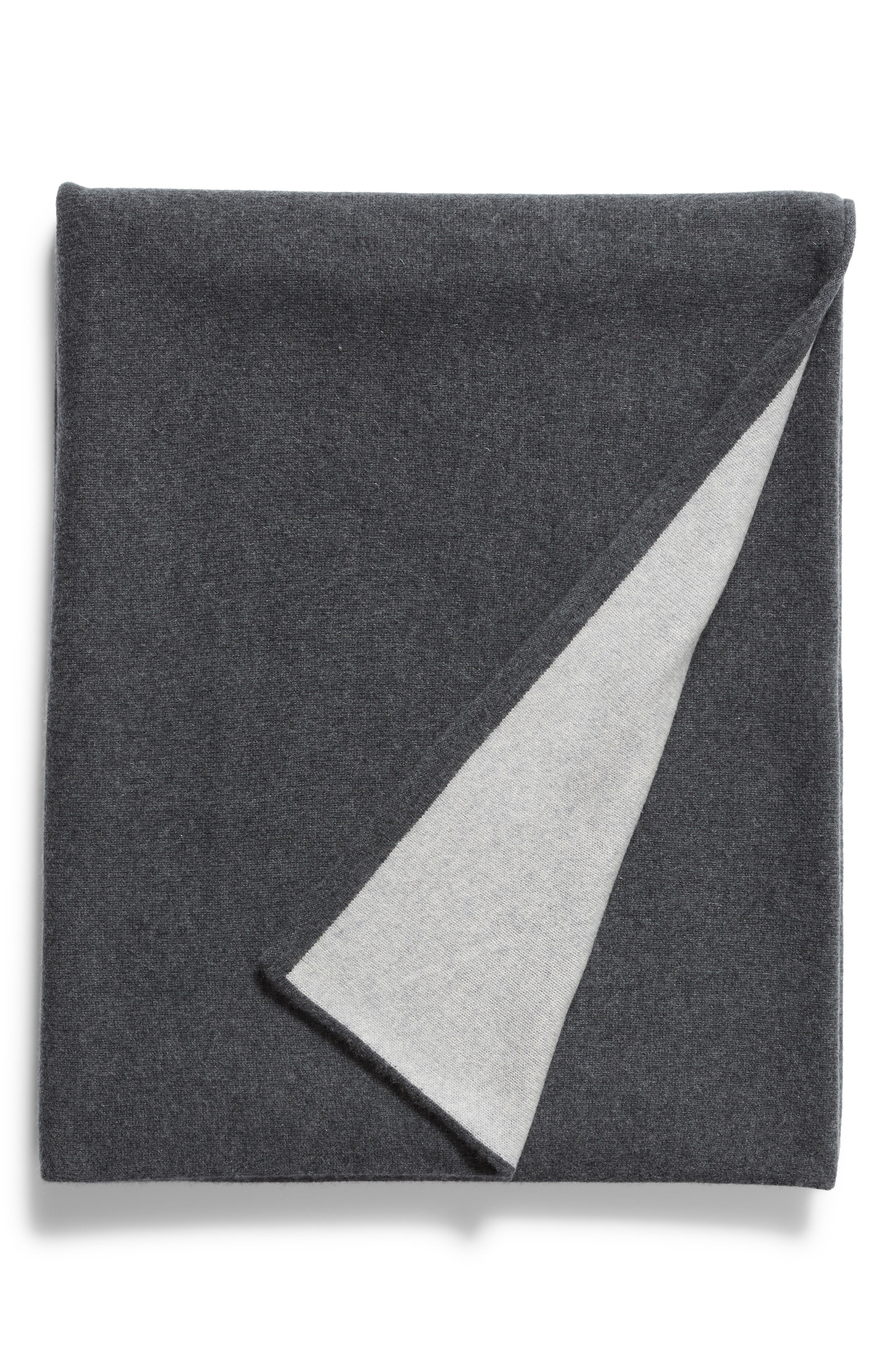 NORDSTROM SIGNATURE, Double Knit Cashmere Throw, Main thumbnail 1, color, GREY CLAY HEATHER