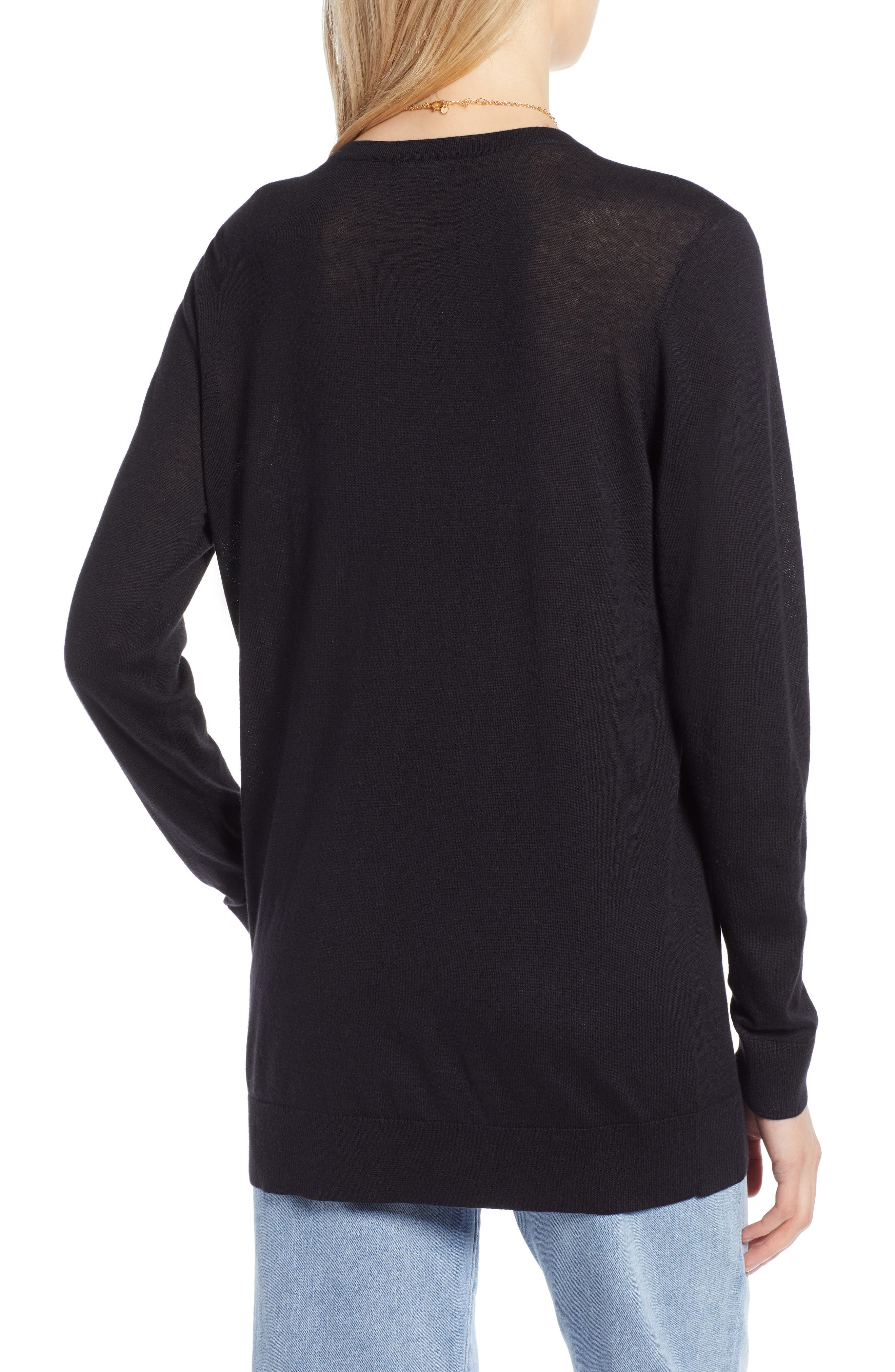 HALOGEN<SUP>®</SUP>, Relaxed V-Neck Sweater, Alternate thumbnail 2, color, BLACK