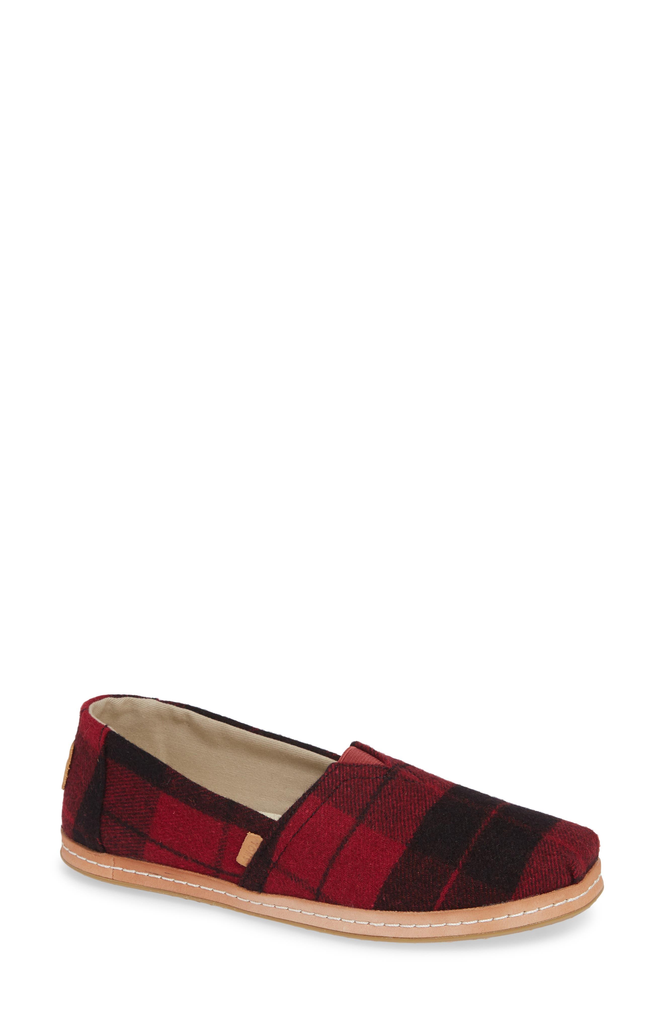 TOMS Classic - Alpargata Slip-On, Main, color, RED PLAID FABRIC
