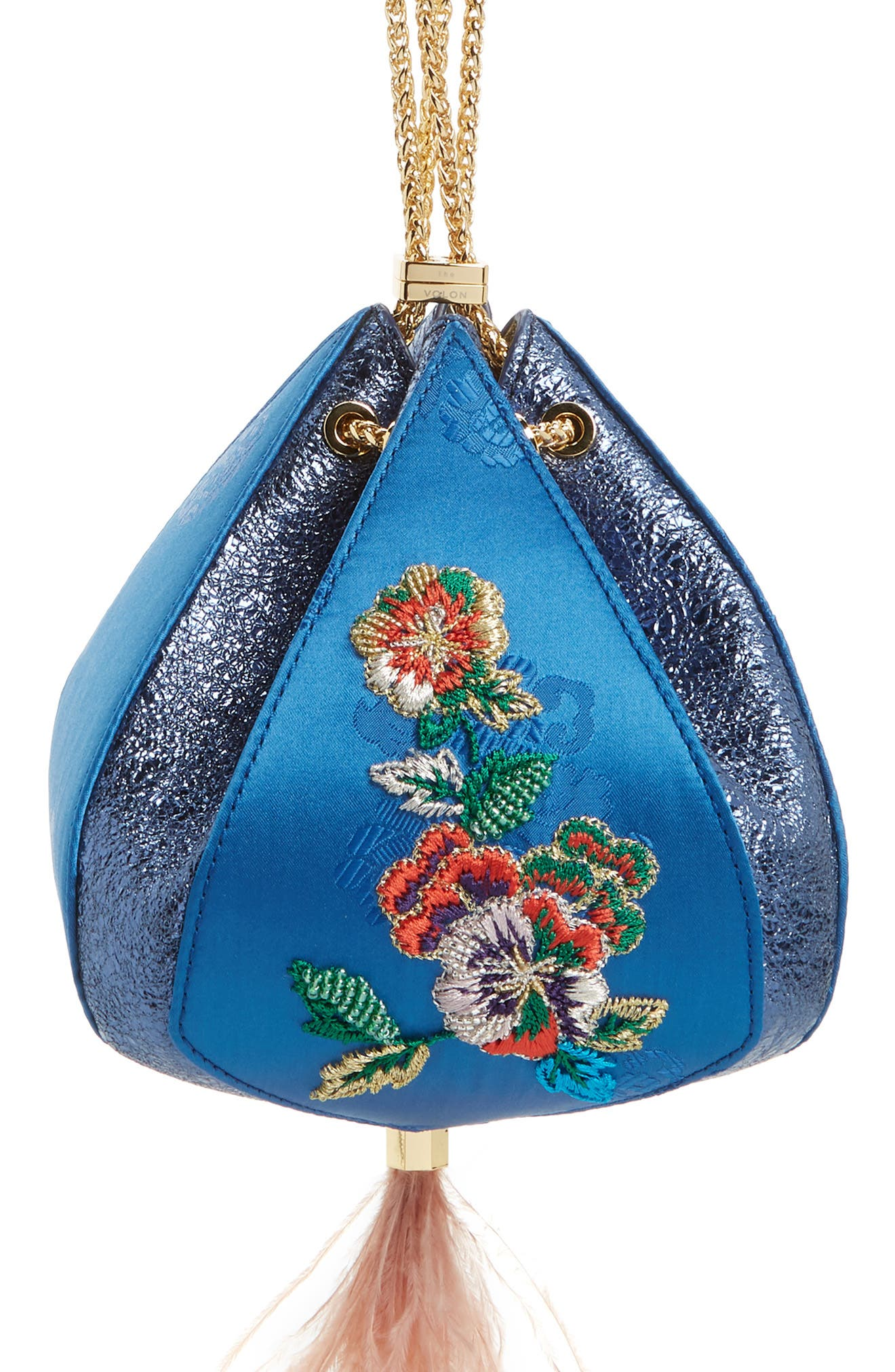 THE VOLON, Metallic Cindy Embroidered Satin & Leather Clutch, Main thumbnail 1, color, BLUE
