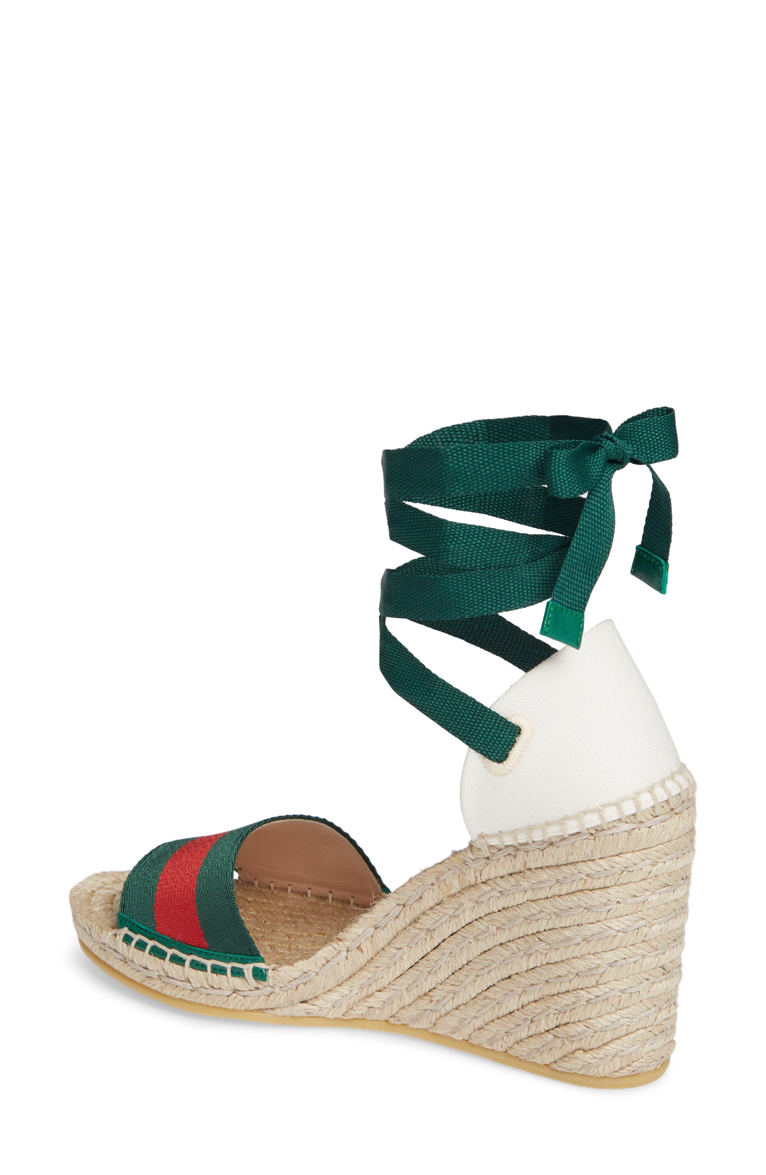 GUCCI, Lilibeth Sylvie Web Espadrille Wedge Sandal, Alternate thumbnail 2, color, WHITE/ GREEN