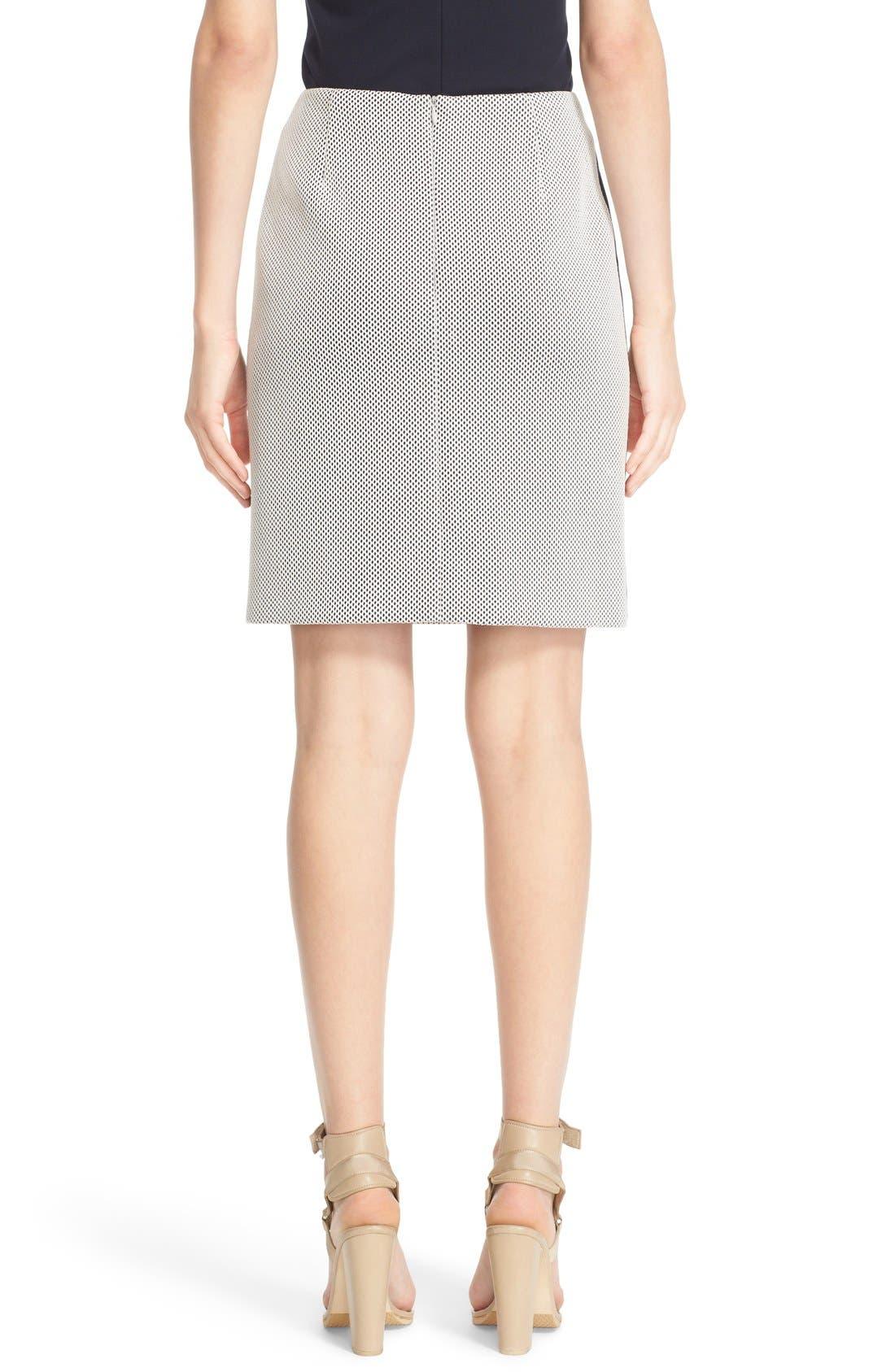 AKRIS PUNTO, Side Stripe Mesh Pencil Skirt, Alternate thumbnail 3, color, 900
