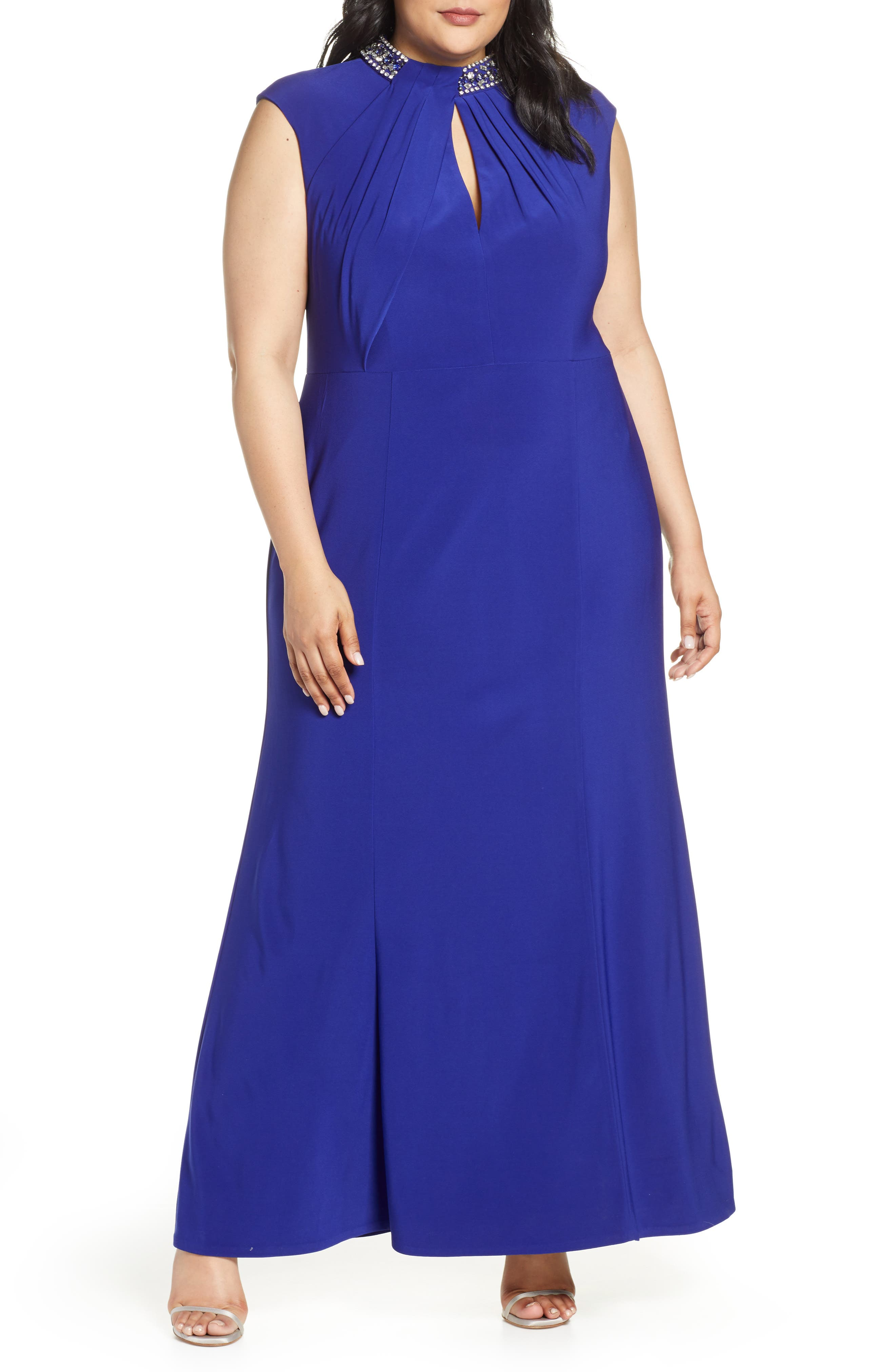 Plus Size Vince Camuto Embellished Twist Neck Gown, Blue