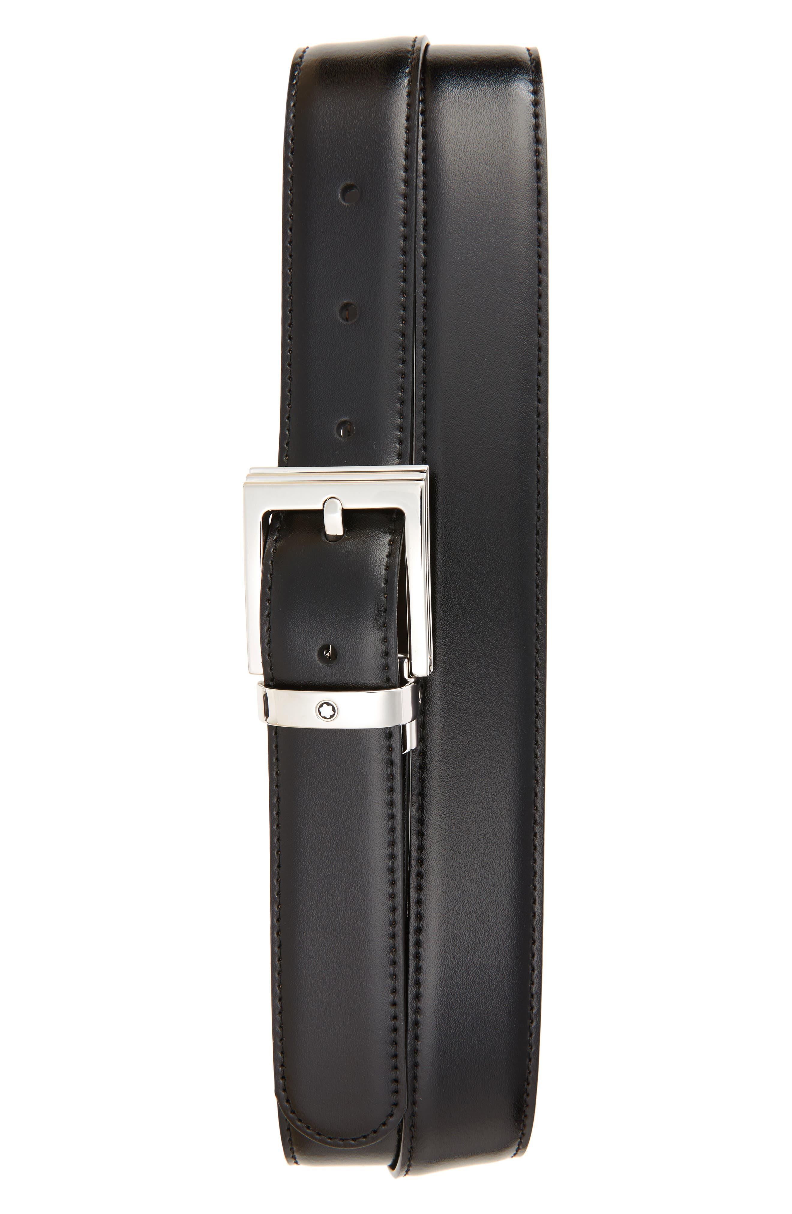MONTBLANC, Reversible Leather Belt, Main thumbnail 1, color, BLACK/ BROWN