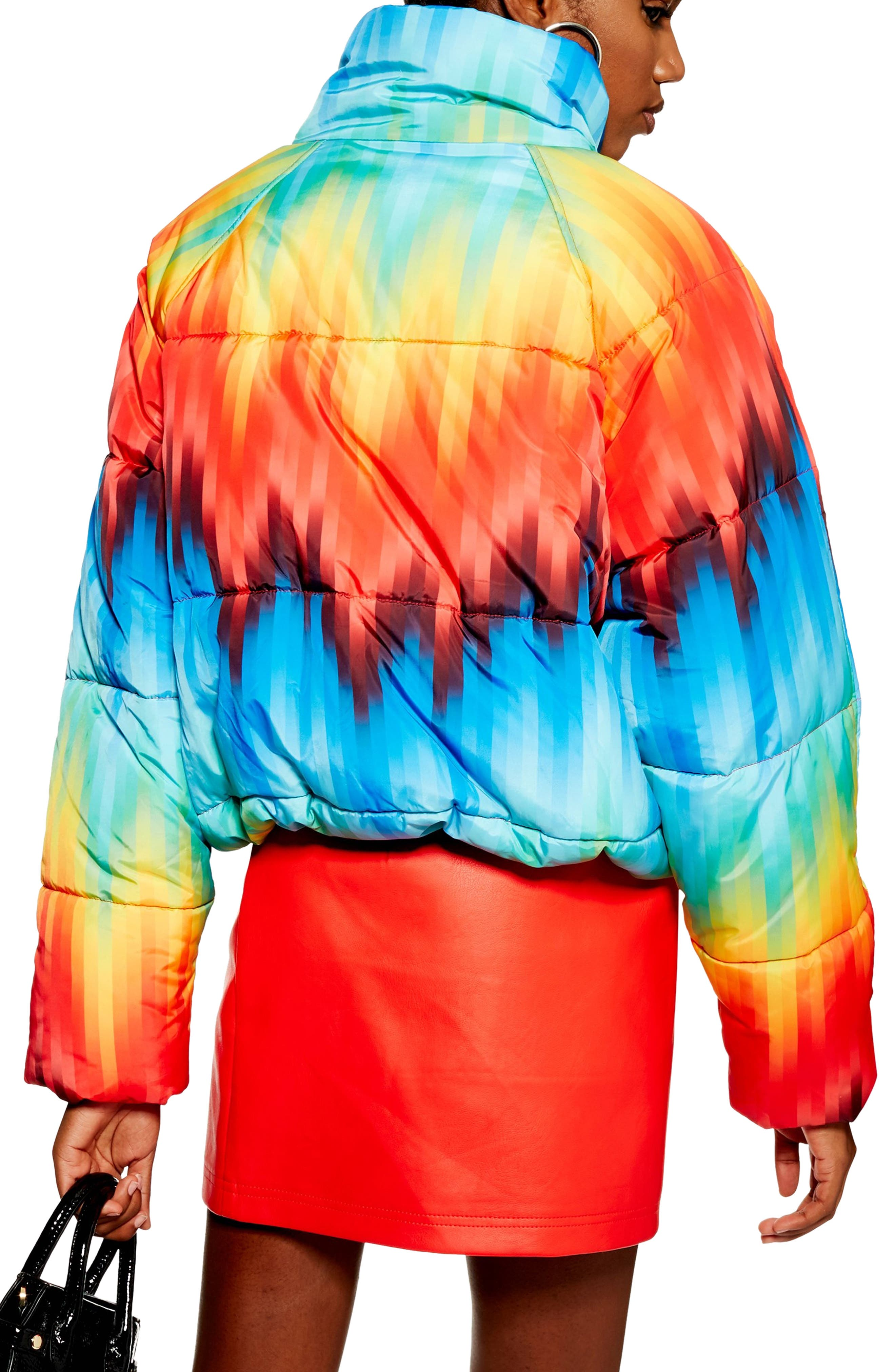 TOPSHOP, Rainbow Puffer Jacket, Alternate thumbnail 2, color, 460