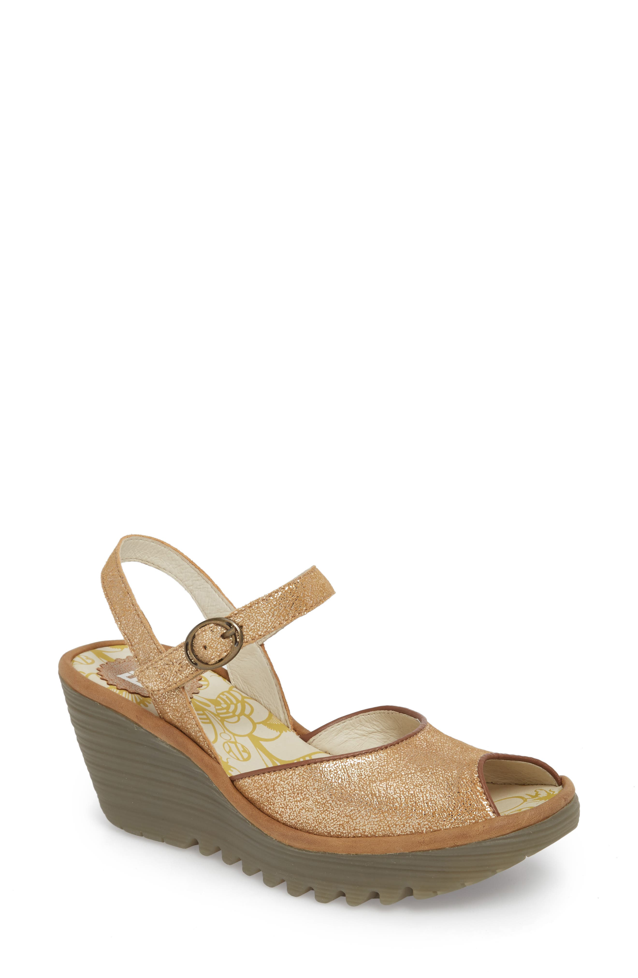 Fly London Yora Wedge Sandal, Brown