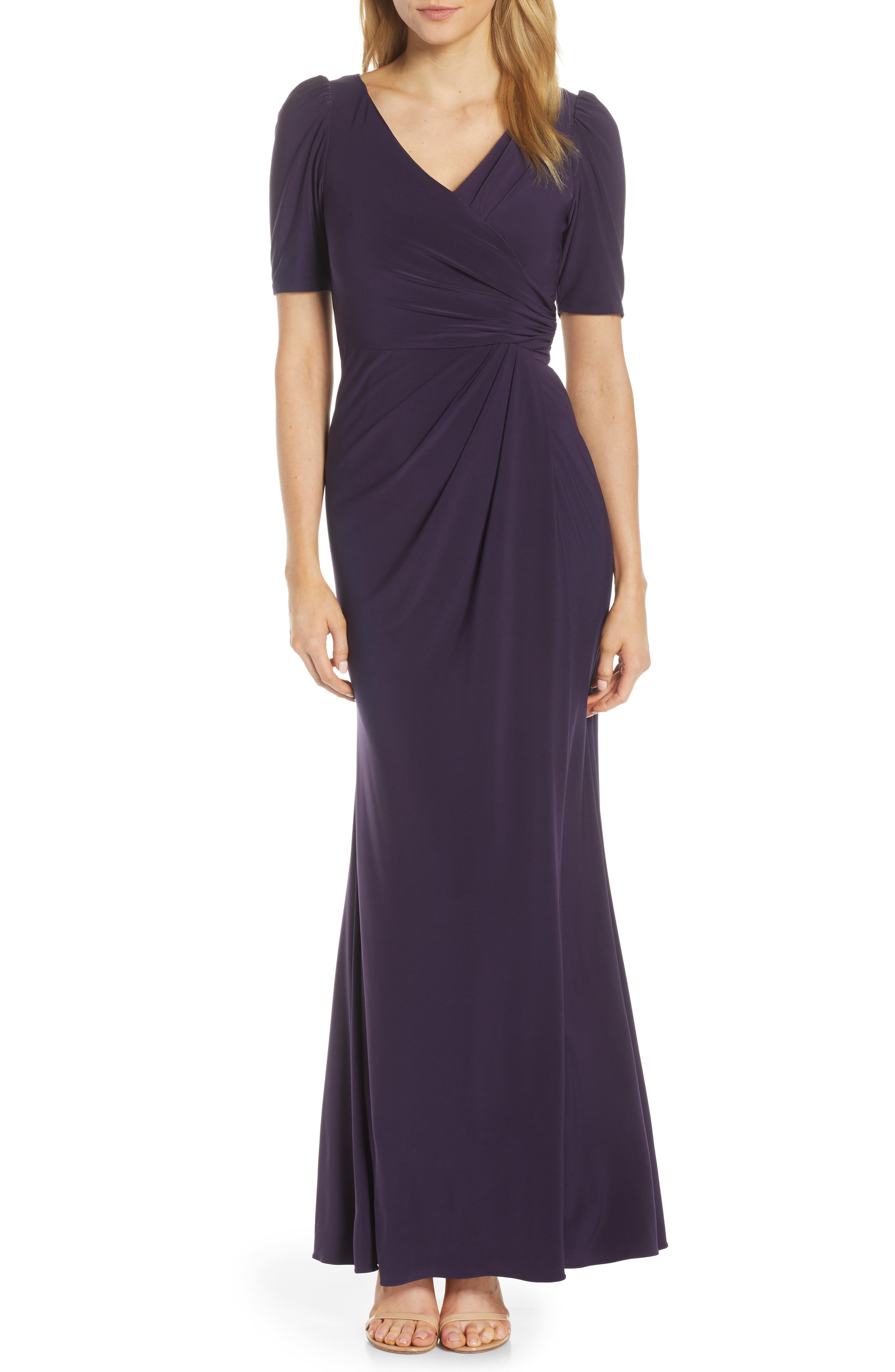 ADRIANNA PAPELL Matte Jersey Gown, Main, color, AUBERGINE