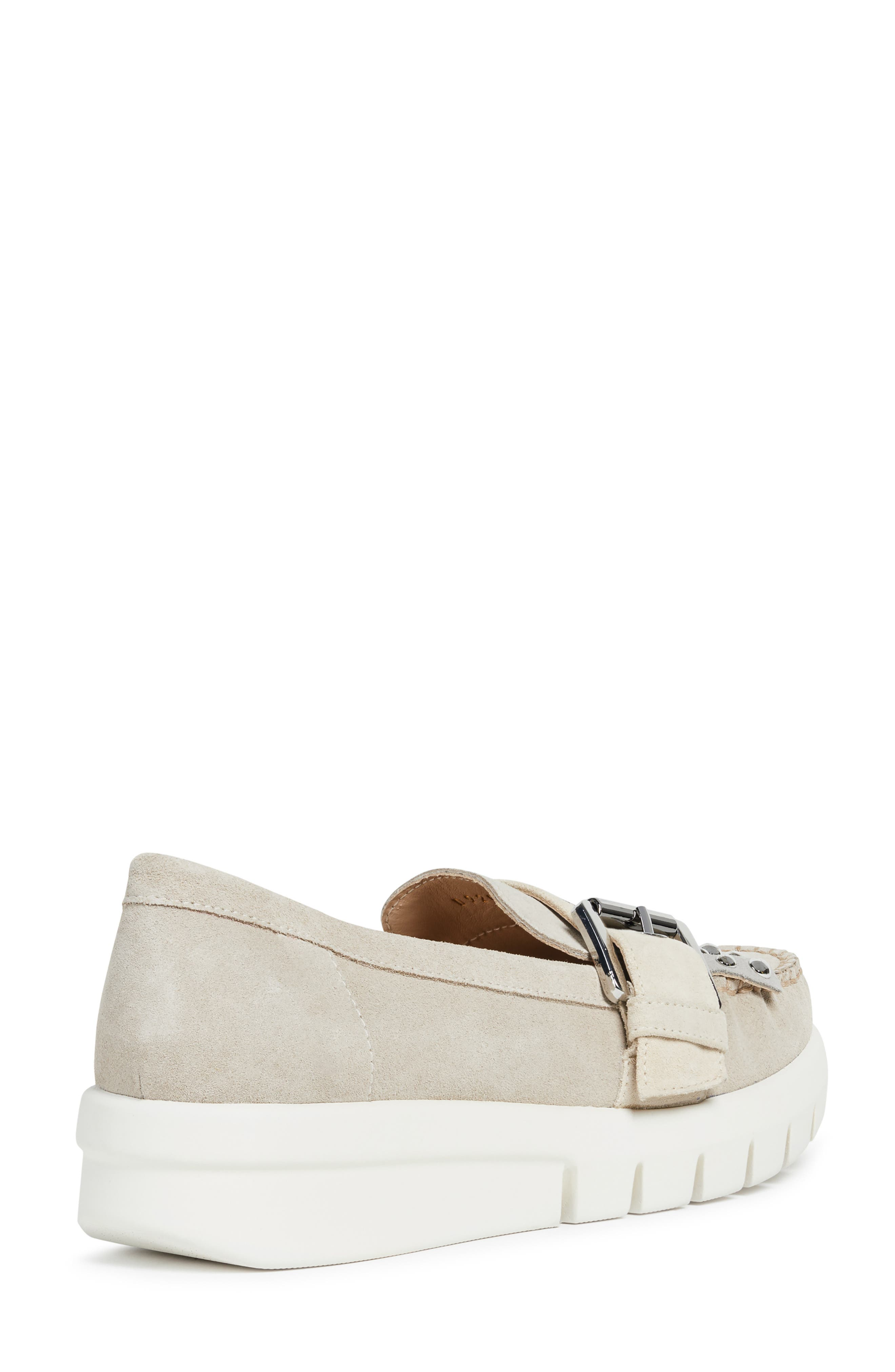 GEOX, Wimbley Studded Kiltie Loafer, Alternate thumbnail 7, color, LIGHT TAUPE/ GREY SUEDE