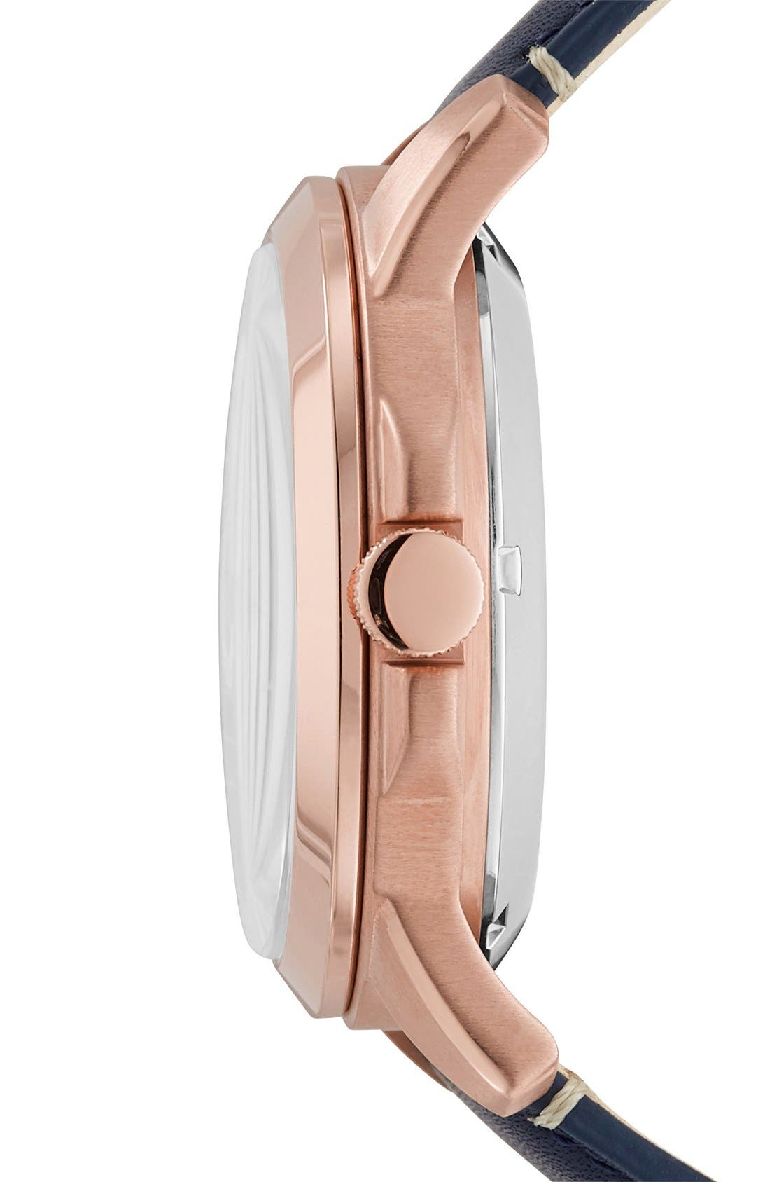 FOSSIL, 'Grant' Chronograph Leather Strap Watch, 44mm, Alternate thumbnail 3, color, NAVY/ ROSE GOLD