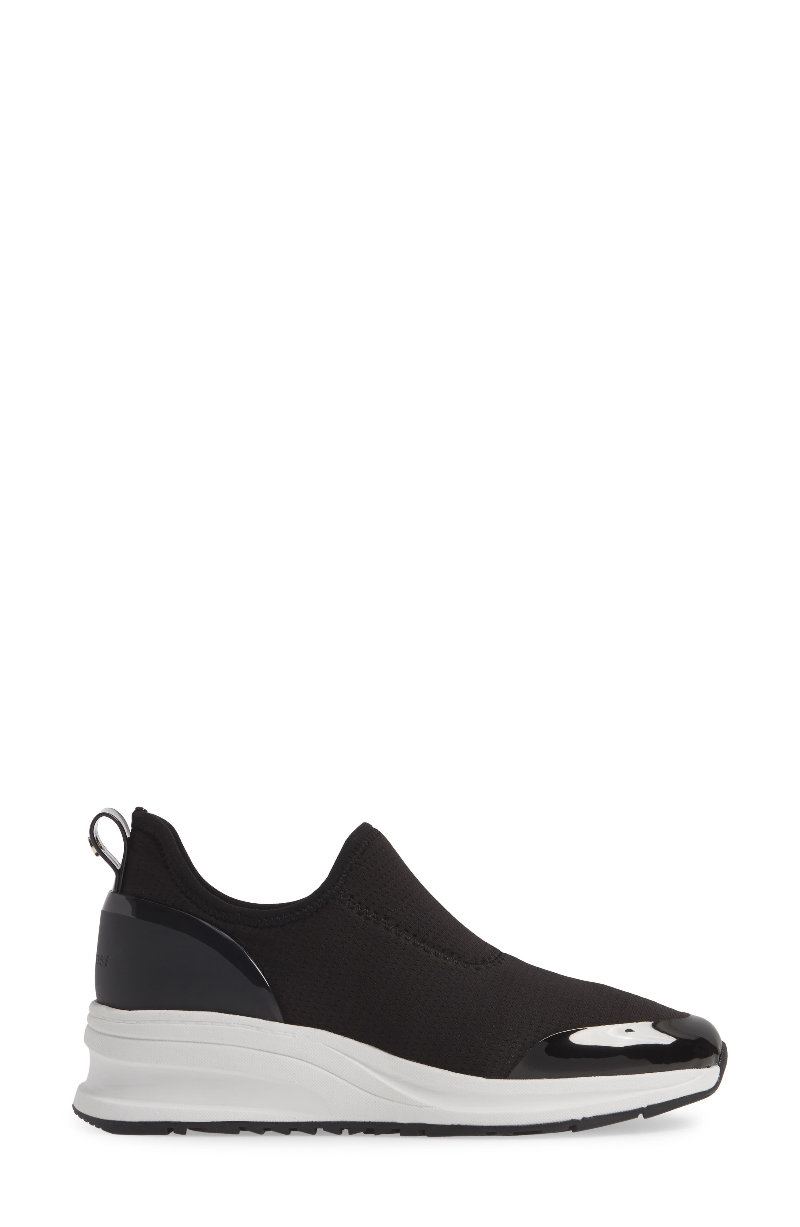 TARYN ROSE, Zabella Slip-On Sneaker, Alternate thumbnail 3, color, BLACK STRETCH FABRIC