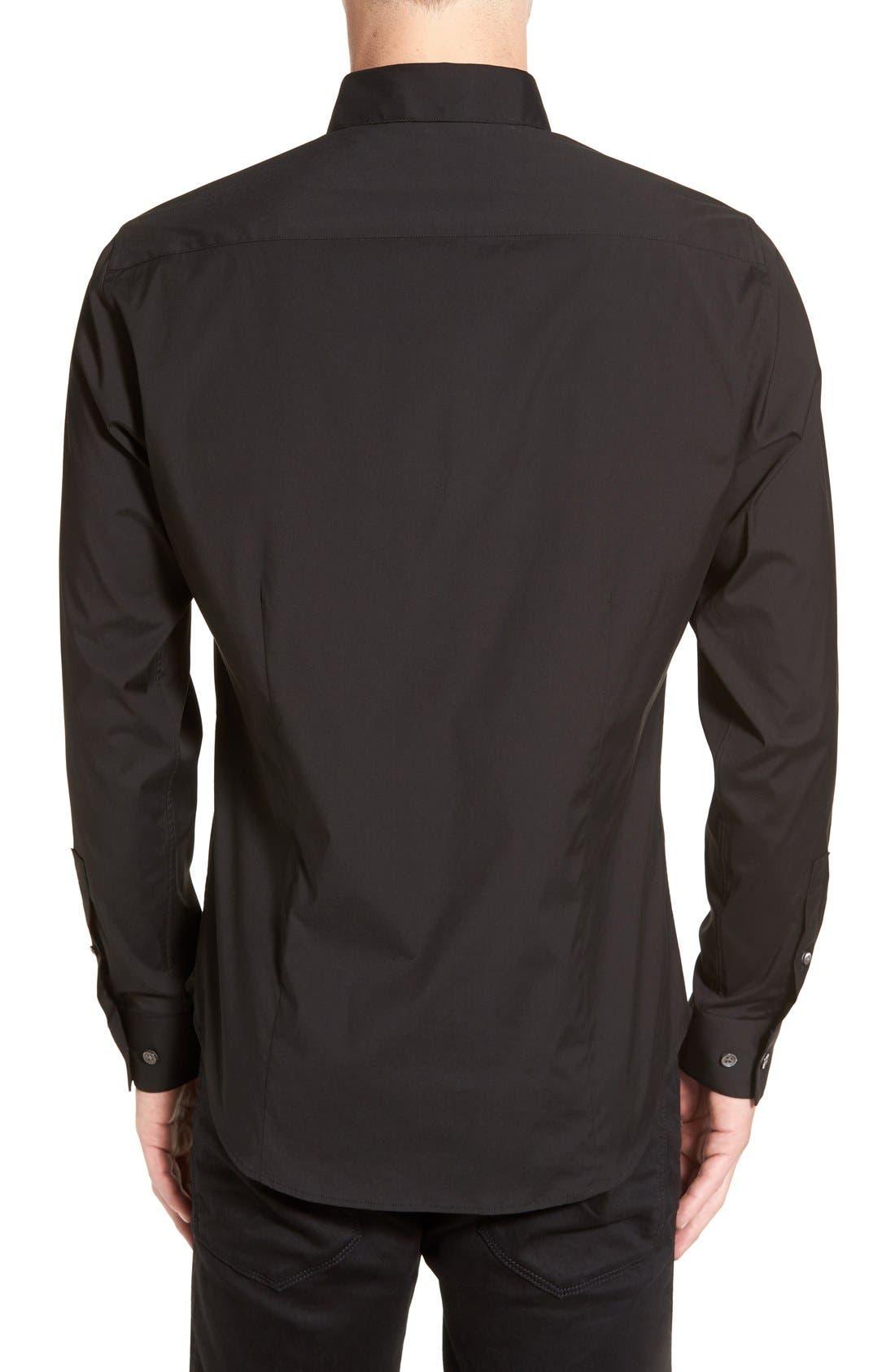 THEORY, 'Sylvain' Trim Fit Long Sleeve Sport Shirt, Alternate thumbnail 4, color, BLACK