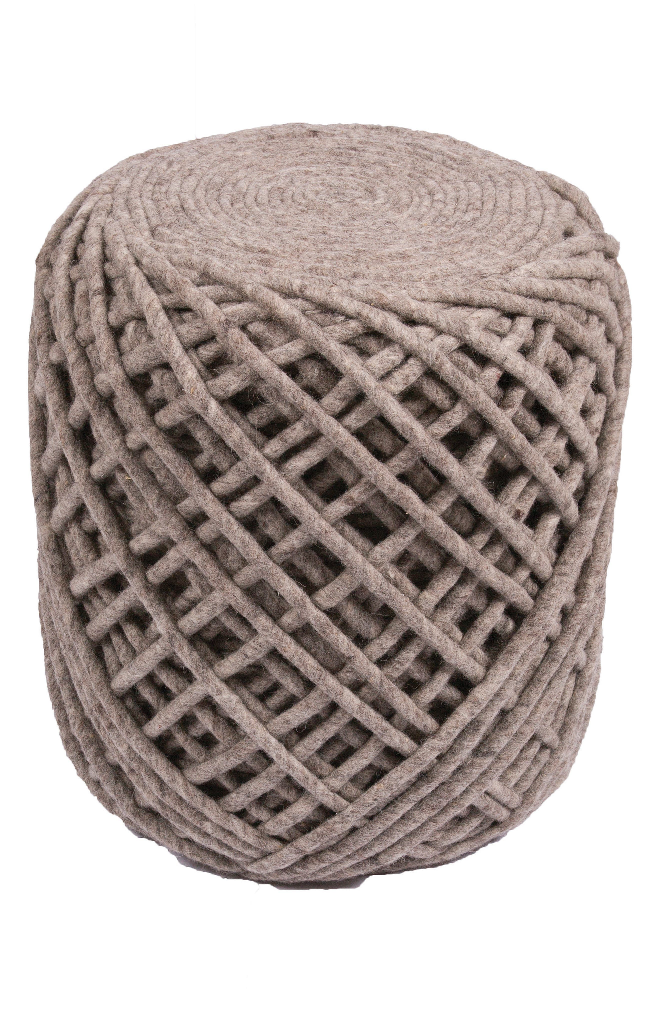 JAIPUR Guna Ash Wool Pouf, Main, color, GREY