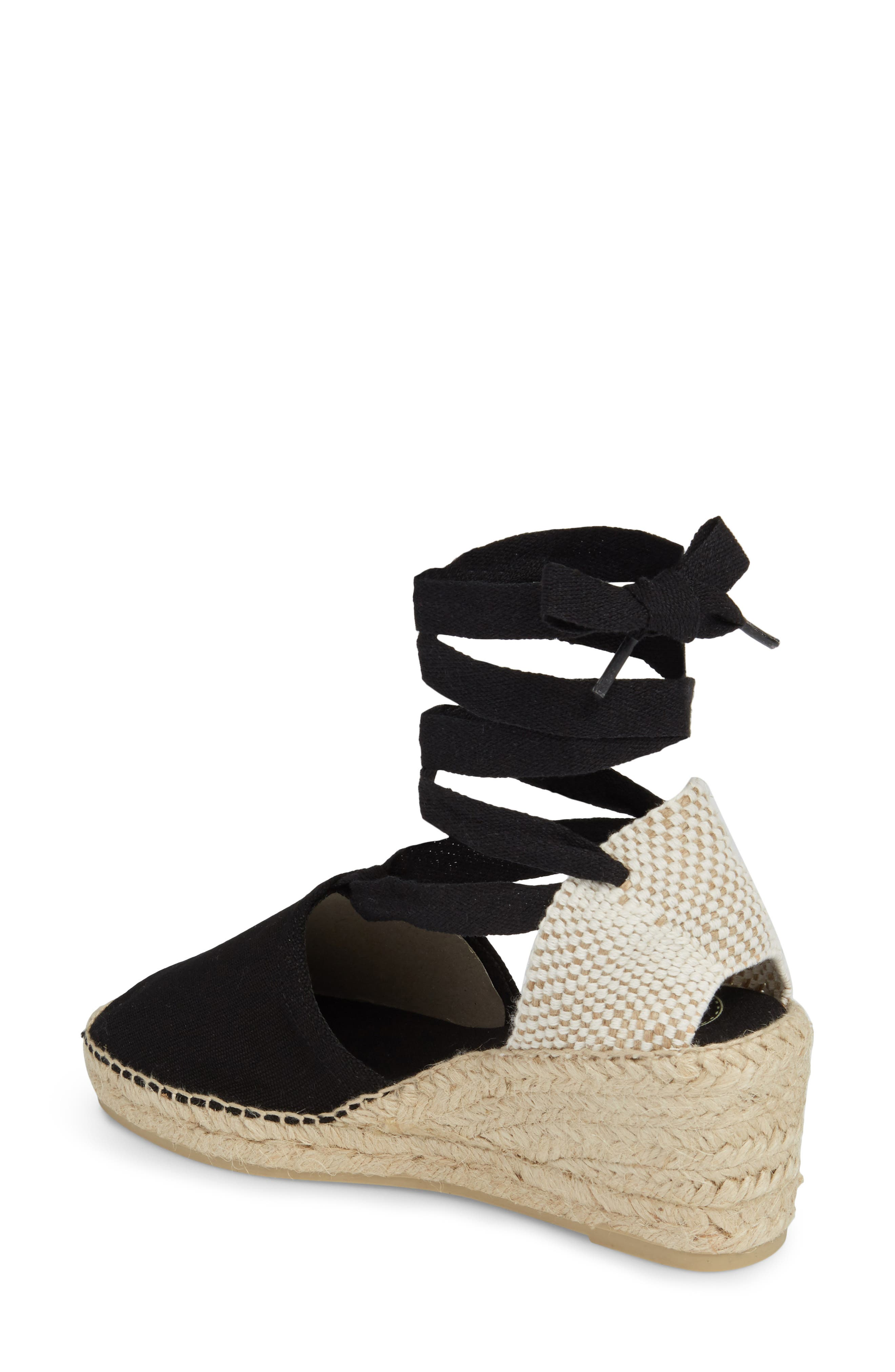 TONI PONS, Valencia Wraparound Espadrille Wedge, Alternate thumbnail 2, color, BLACK FABRIC