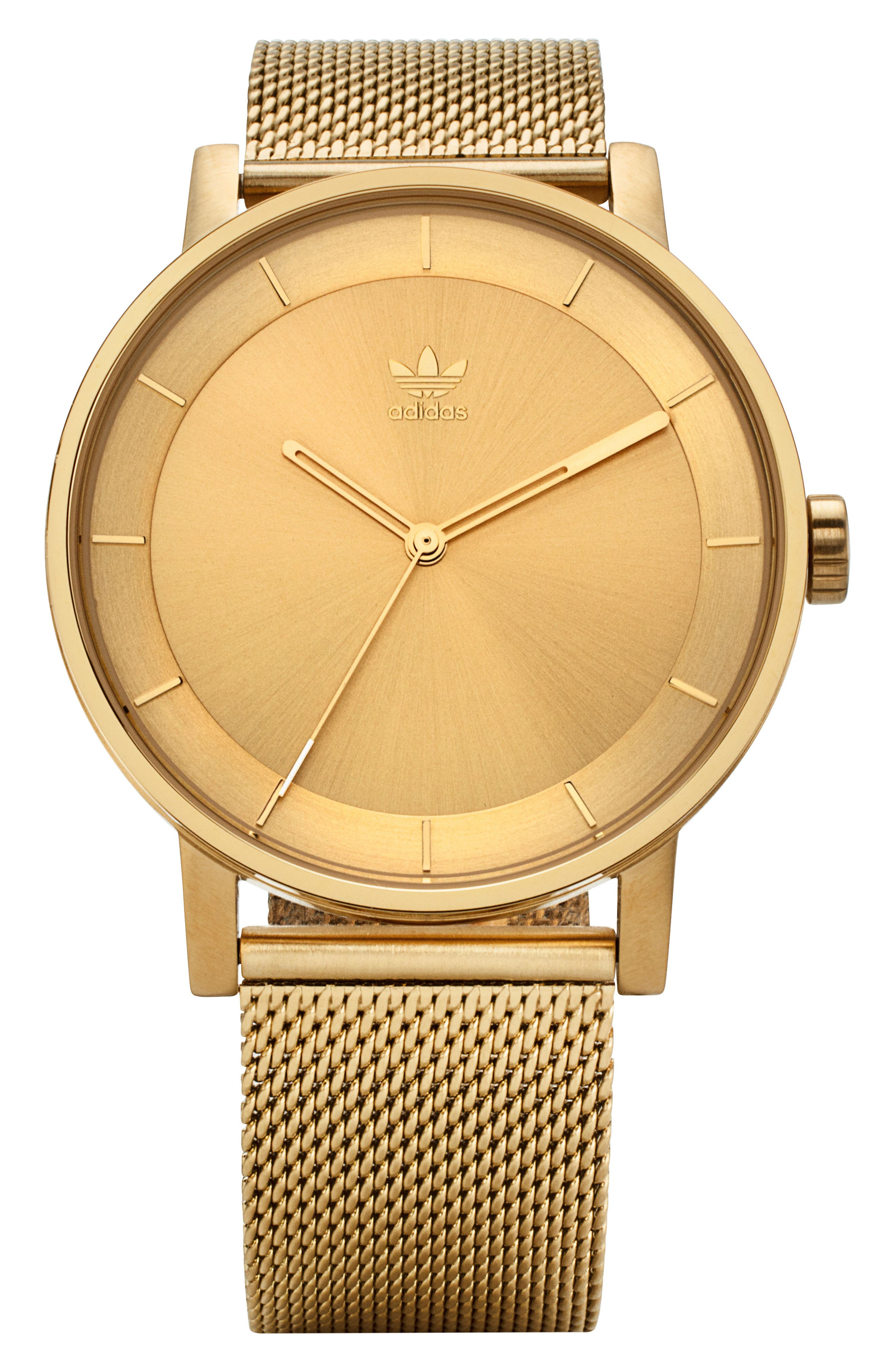ADIDAS District Milanese Bracelet Watch, 40mm, Main, color, GOLD