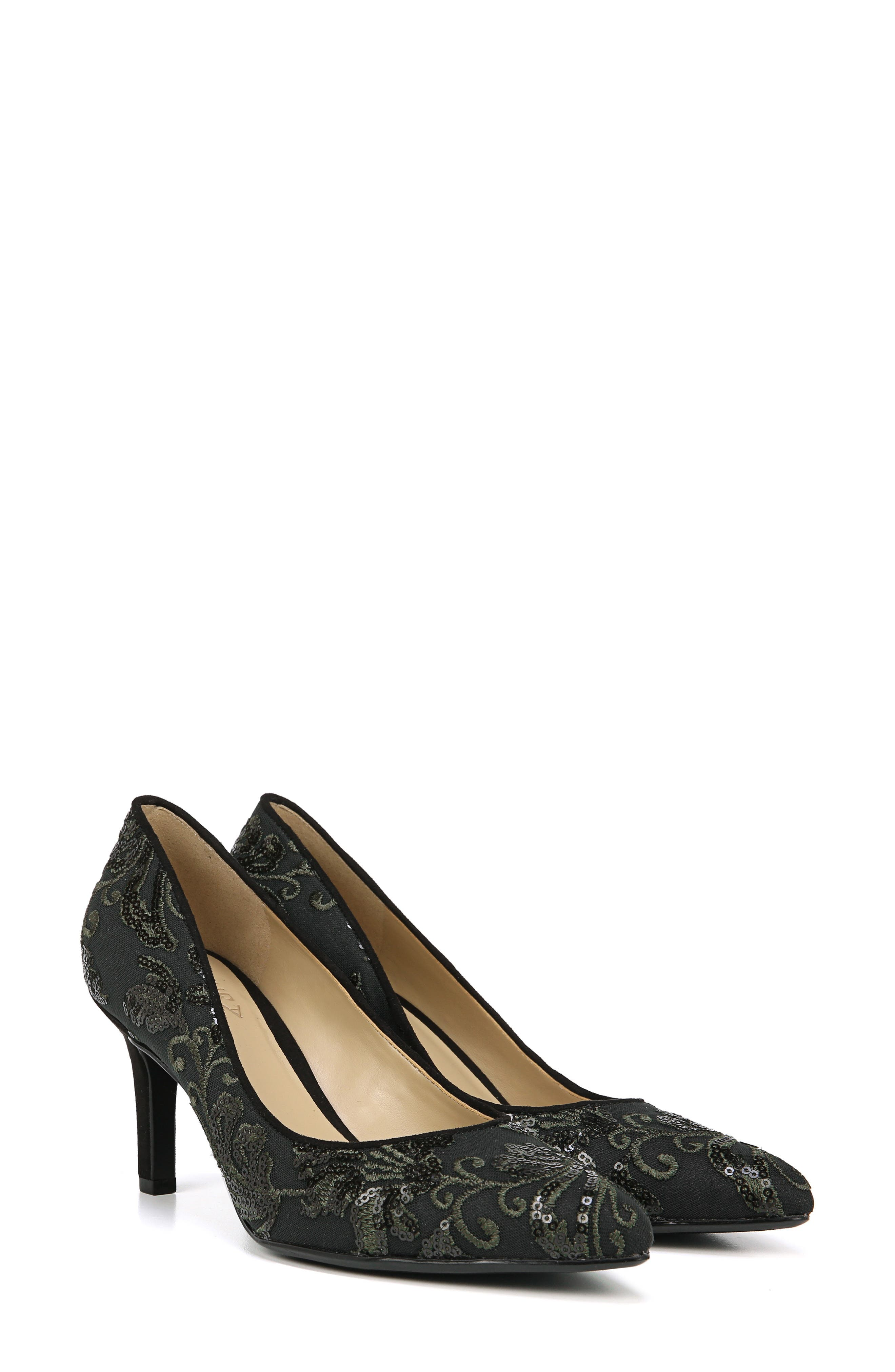 NATURALIZER, Natalie Pointy Toe Pump, Alternate thumbnail 9, color, FERN GREEN EMBROIDERED