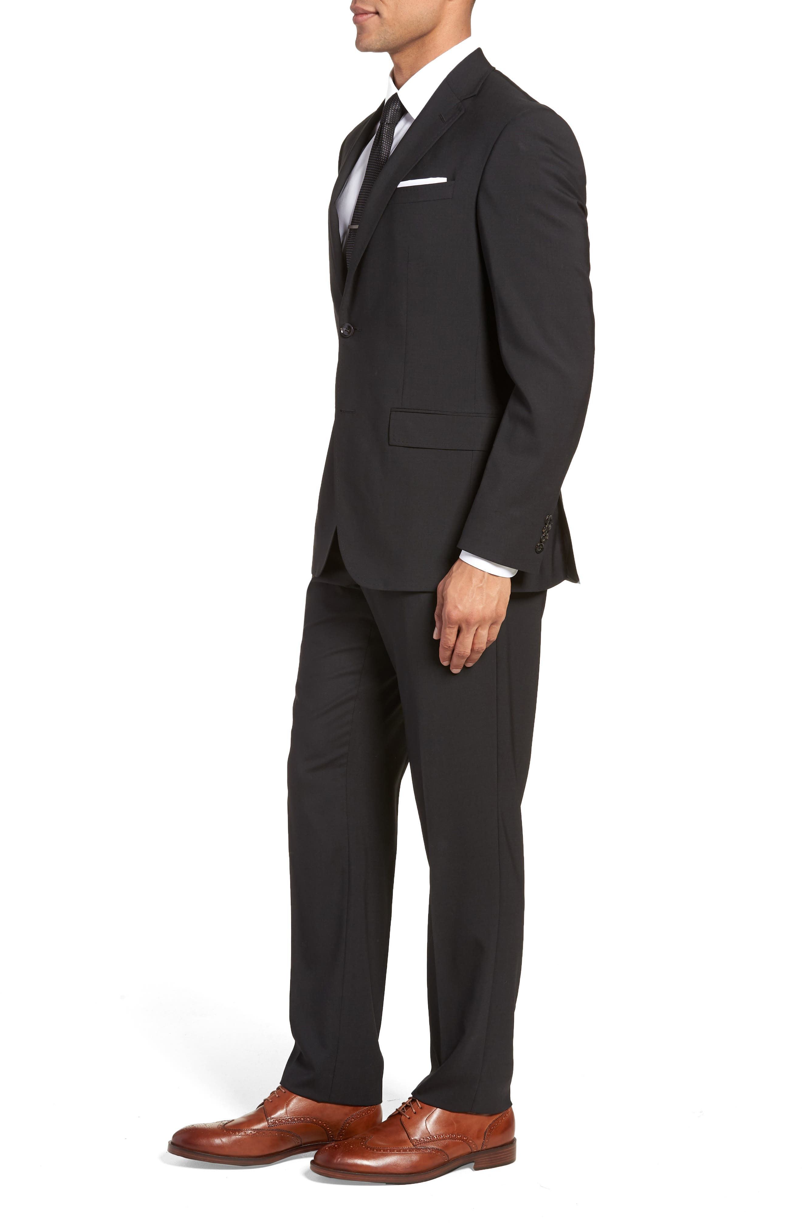 TED BAKER LONDON, Jay Trim Fit Solid Wool Suit, Alternate thumbnail 3, color, BLACK