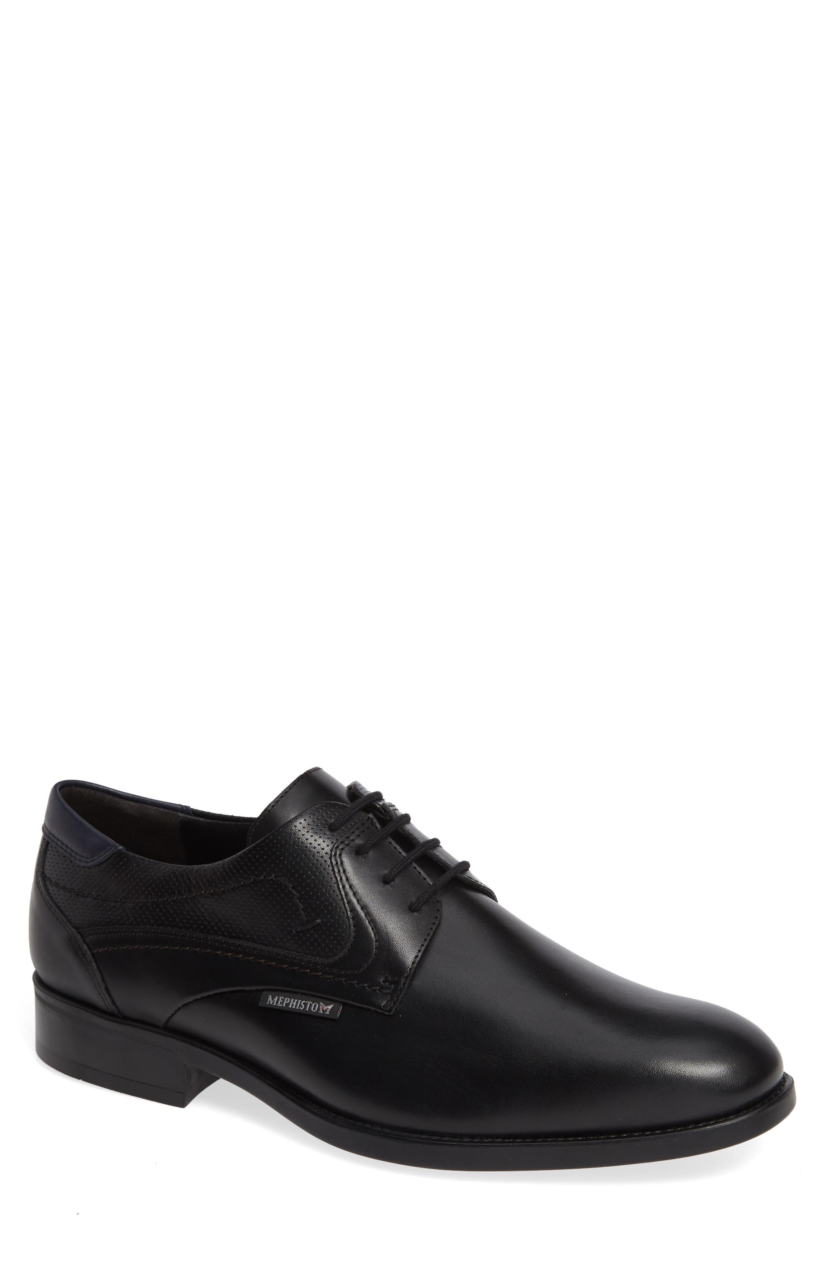 MEPHISTO Cirus Plain Toe Derby, Main, color, BLACK/ NAVY LEATHER