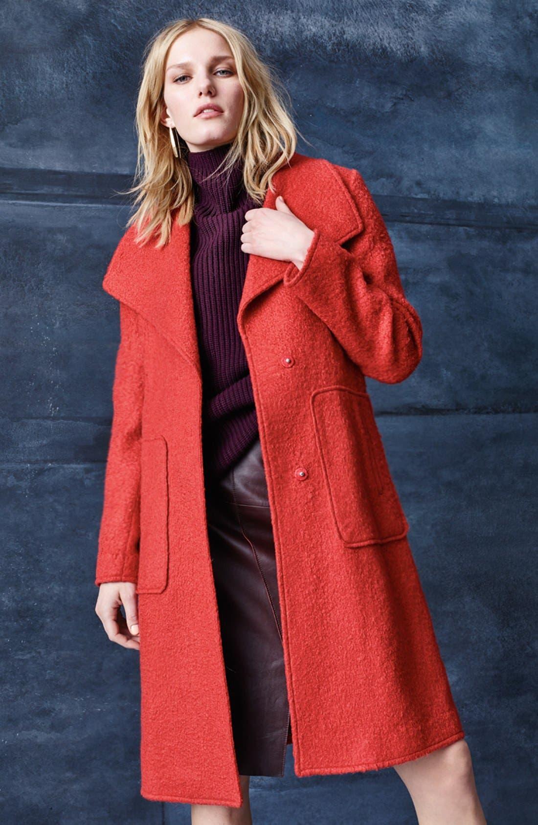 BERNARDO, Textured Long Coat, Alternate thumbnail 6, color, 852
