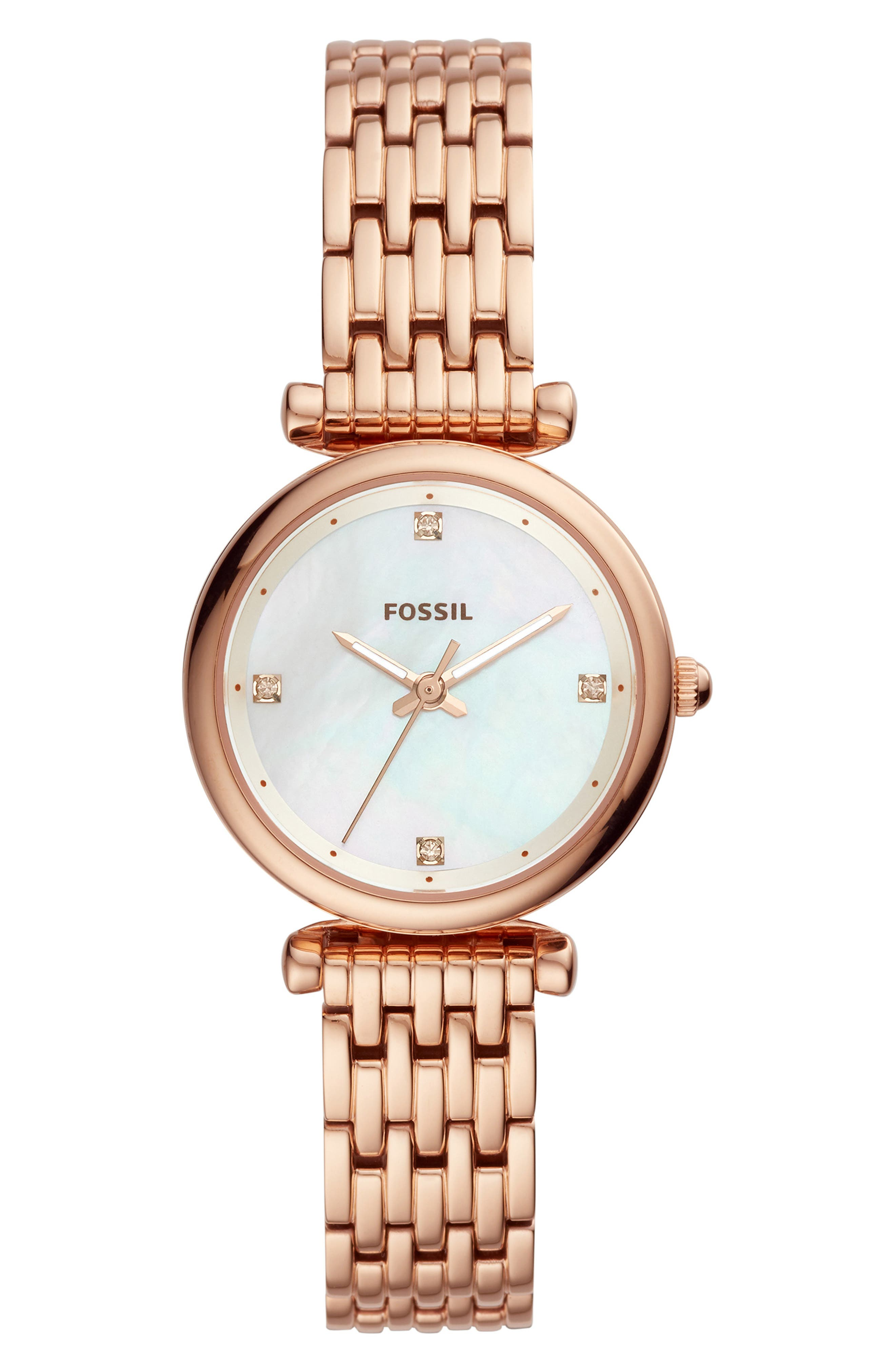 FOSSIL, Mini Carlie Bracelet Watch, 29mm, Main thumbnail 1, color, ROSEGOLD/MOTHER PEARL/ROSEGOLD