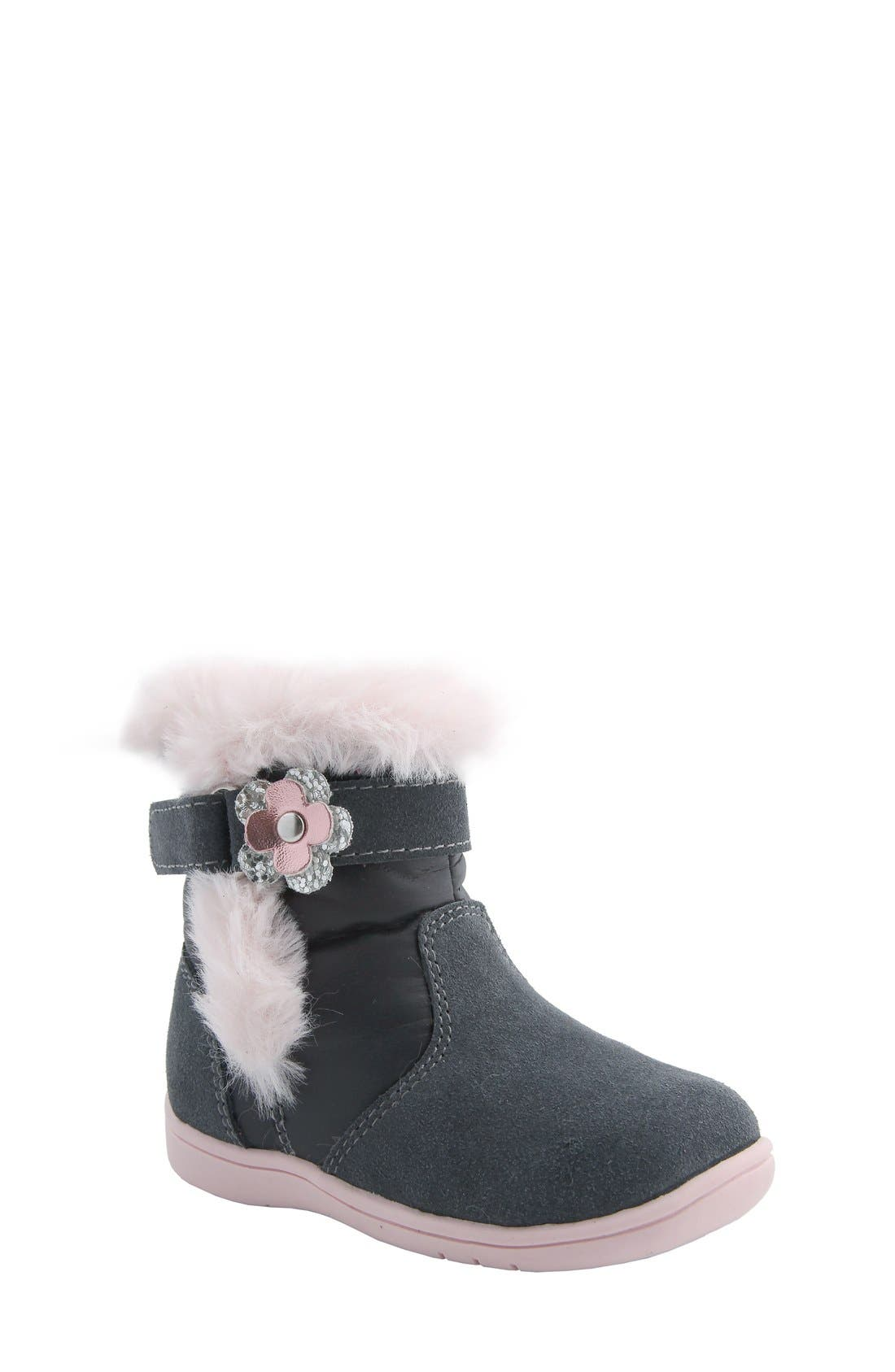 MOBILITY, Nina 'Anya' Faux Fur Bootie, Main thumbnail 1, color, GREY SUEDE