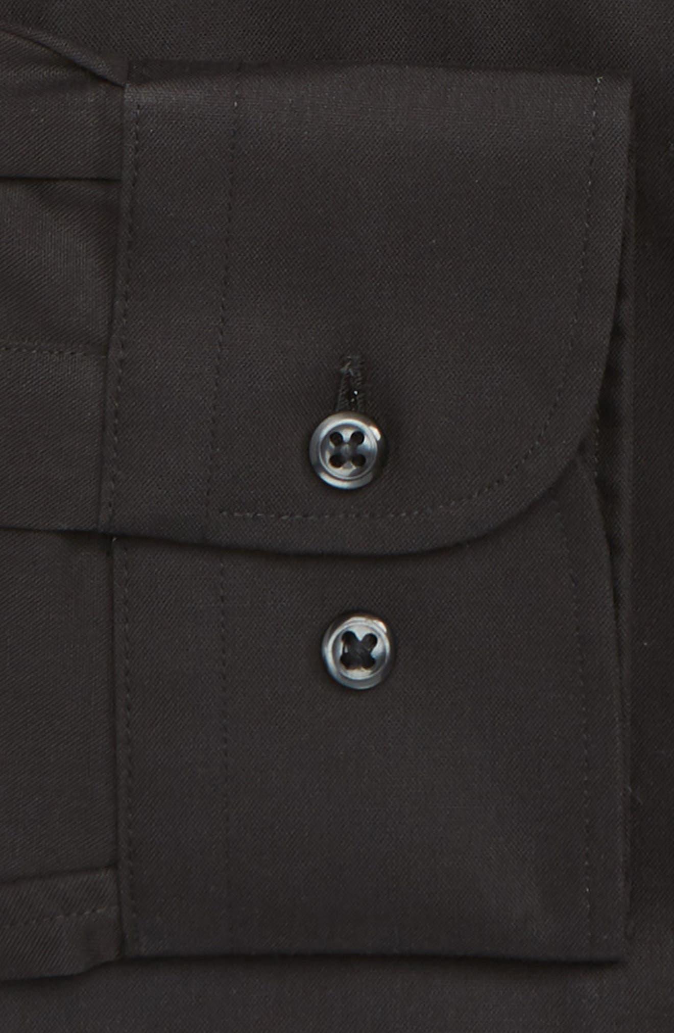 NORDSTROM MEN'S SHOP, Trim Fit Non-Iron Dress Shirt, Alternate thumbnail 6, color, BLACK