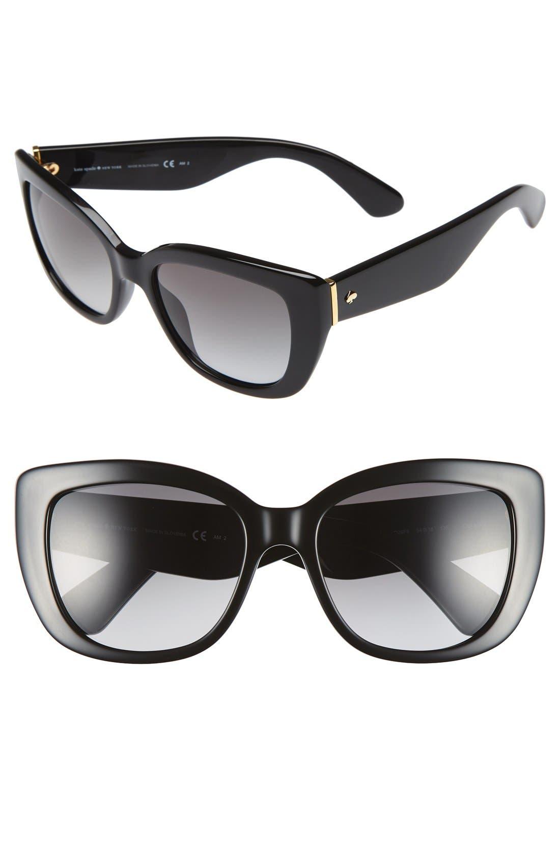 KATE SPADE NEW YORK, 'andris' 54mm sunglasses, Main thumbnail 1, color, 001