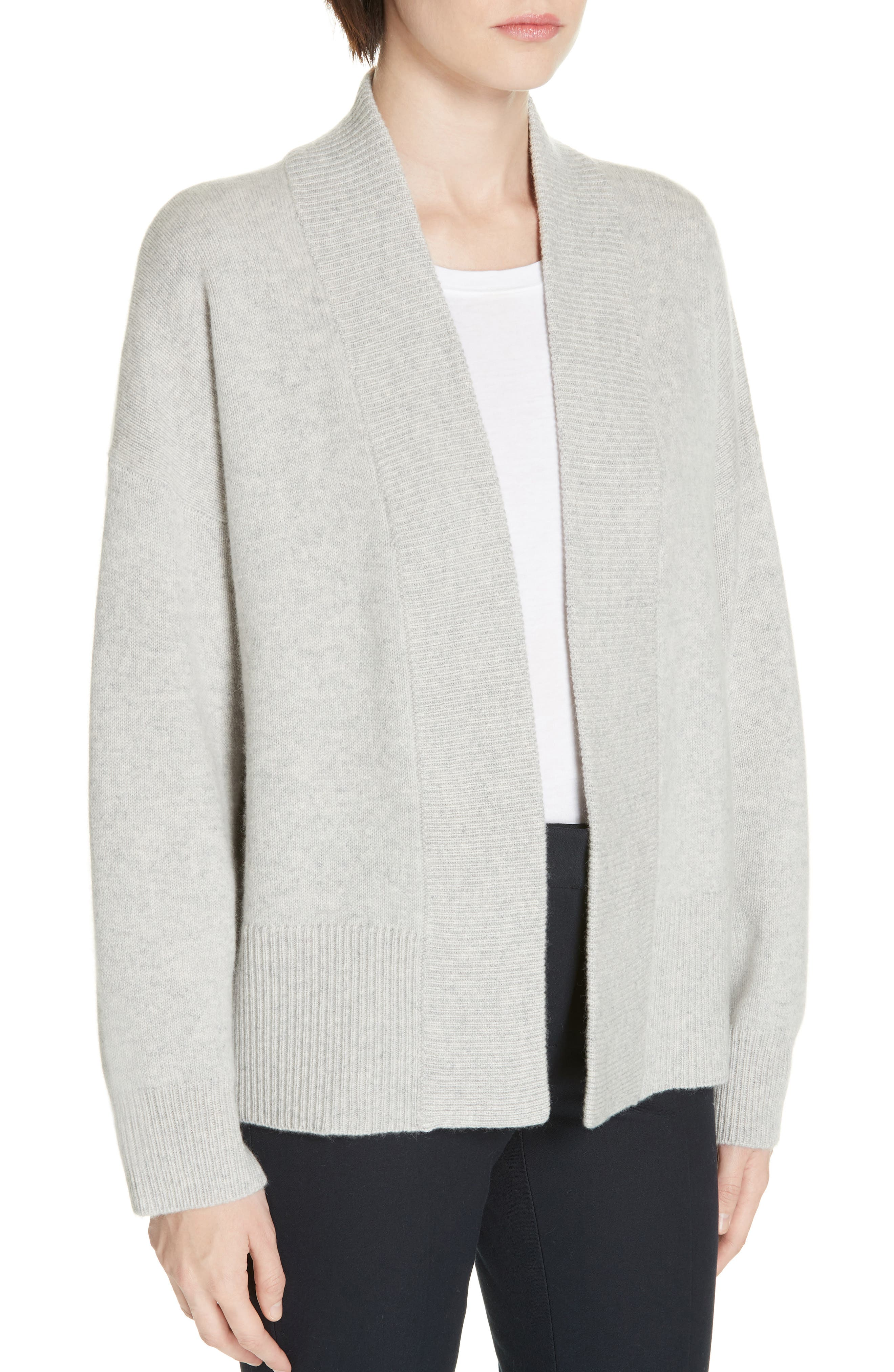 NORDSTROM SIGNATURE, Cashmere Blend Cardigan, Alternate thumbnail 4, color, GREY CLAY HEATHER