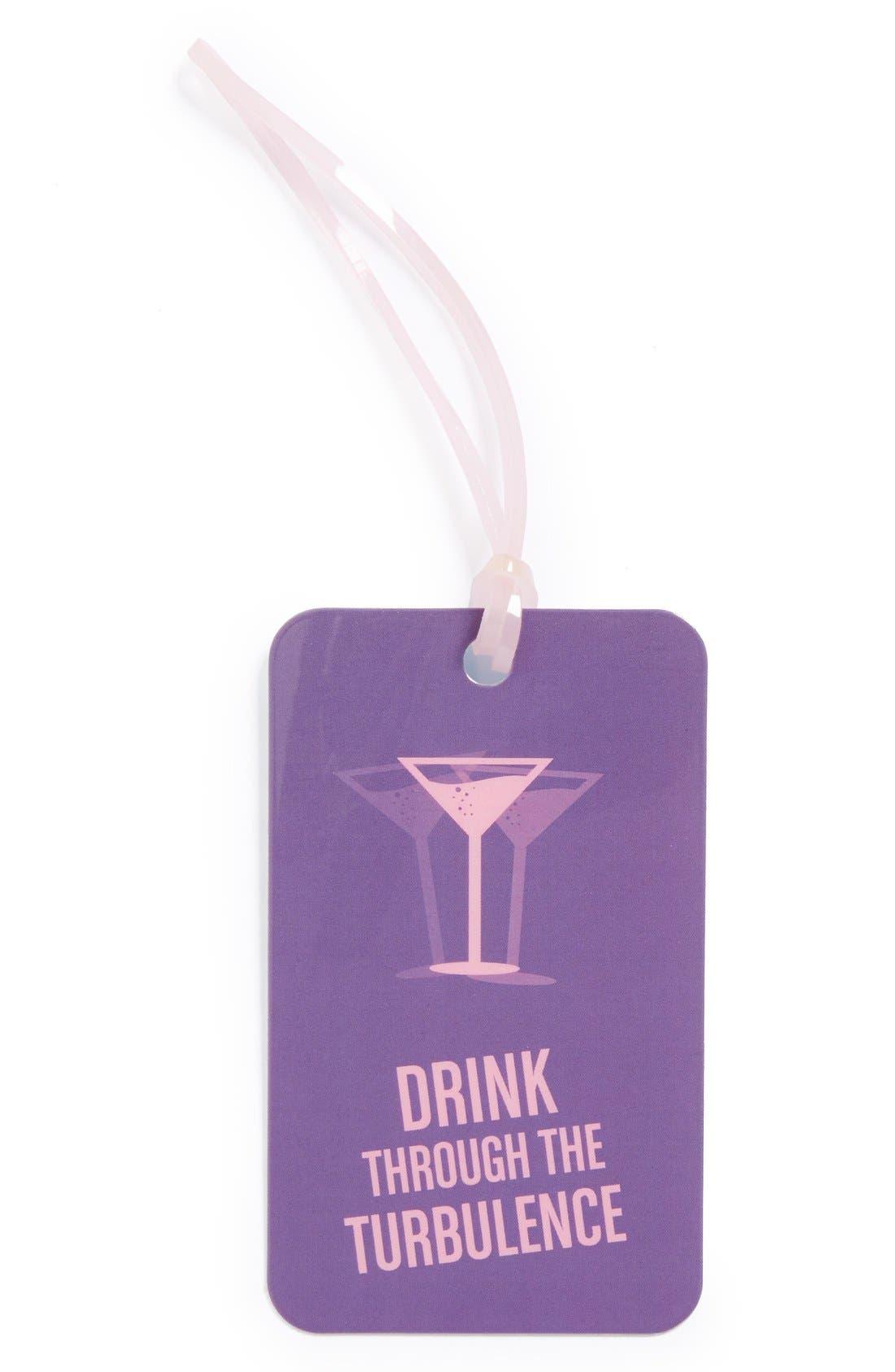 FLIGHT 001, 'Drink Through the Turbulence' Luggage Tag, Main thumbnail 1, color, 500