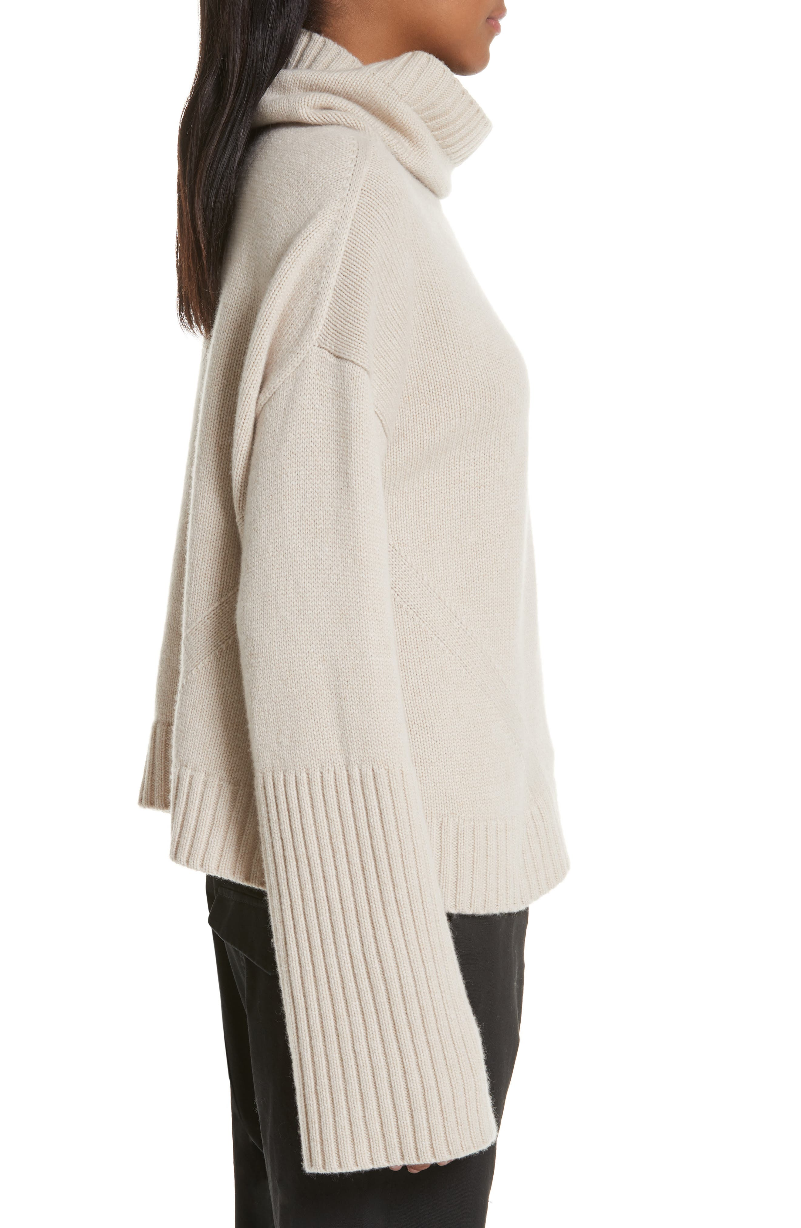 NILI LOTAN, Boyd Cashmere Cowl Neck Sweater, Alternate thumbnail 3, color, LIGHT TAUPE
