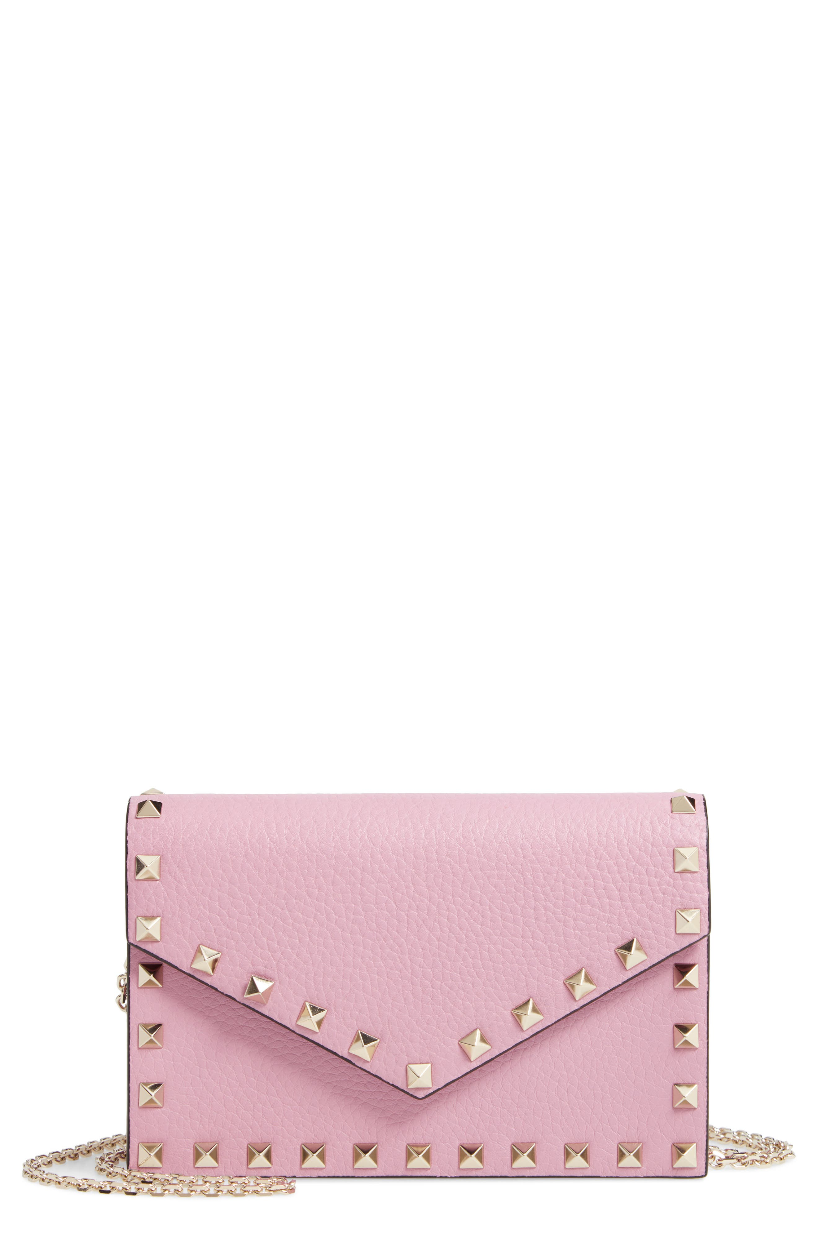 VALENTINO GARAVANI Rockstud Calfskin Leather Envelope Pouch, Main, color, GIACINTO