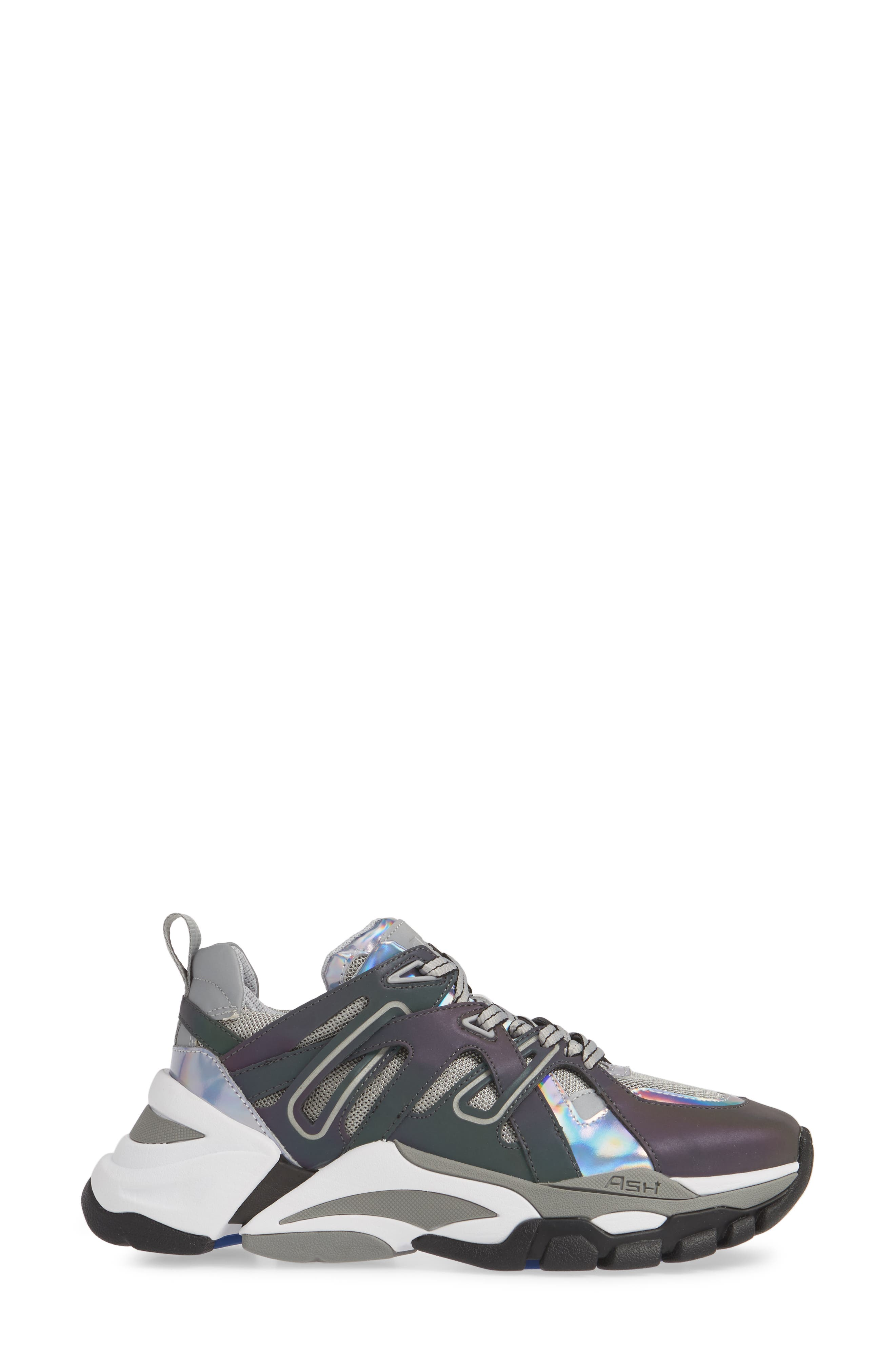 ASH, Flash Sneaker, Alternate thumbnail 3, color, GREY/ STROBE RAINBOW