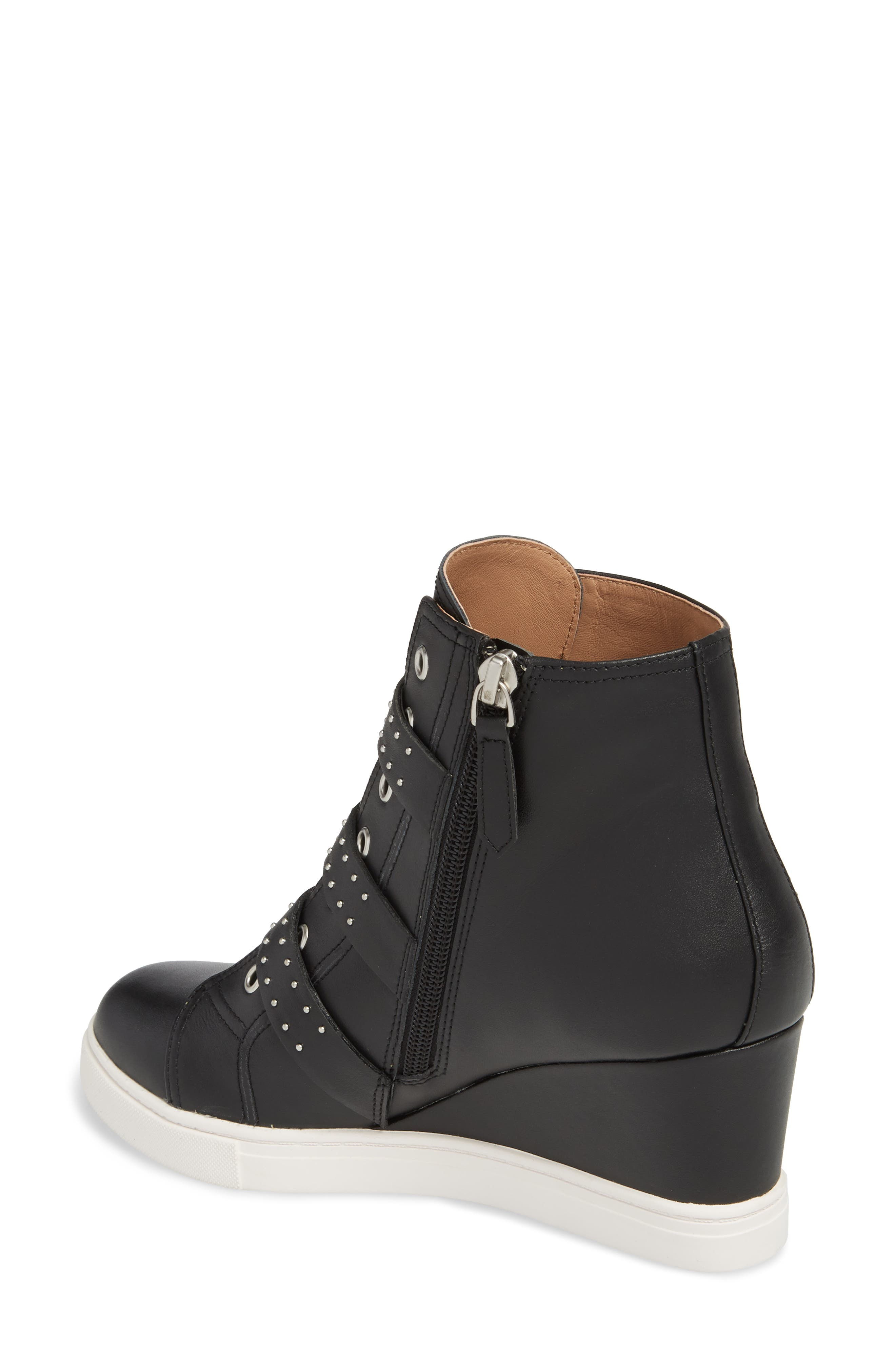 LINEA PAOLO, Fawn Wedge Sneaker, Alternate thumbnail 2, color, BLACK LEATHER