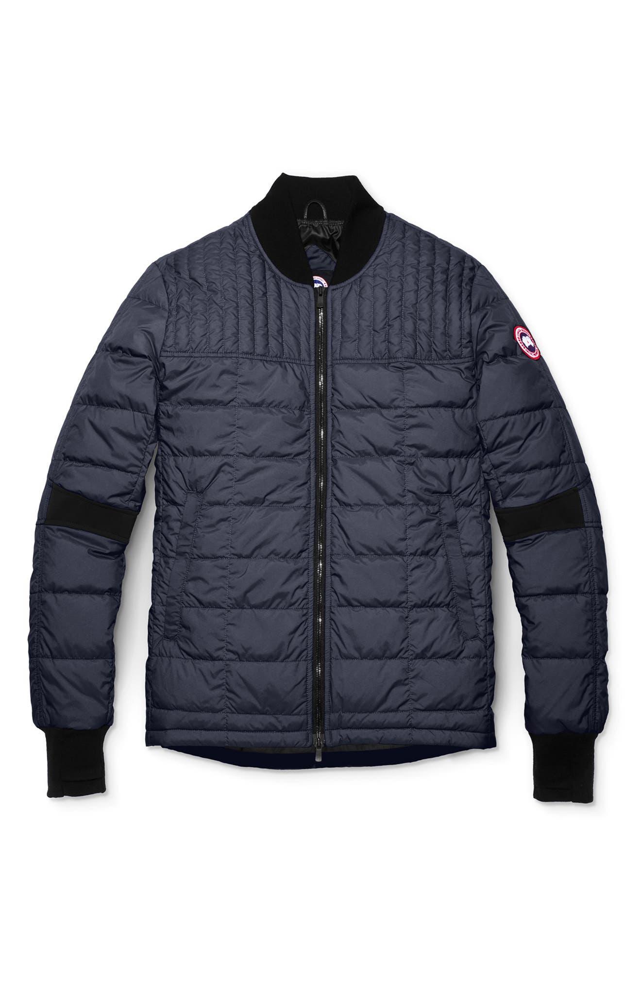 CANADA GOOSE, Dunham Slim Fit Packable Down Jacket, Main thumbnail 1, color, NAVY