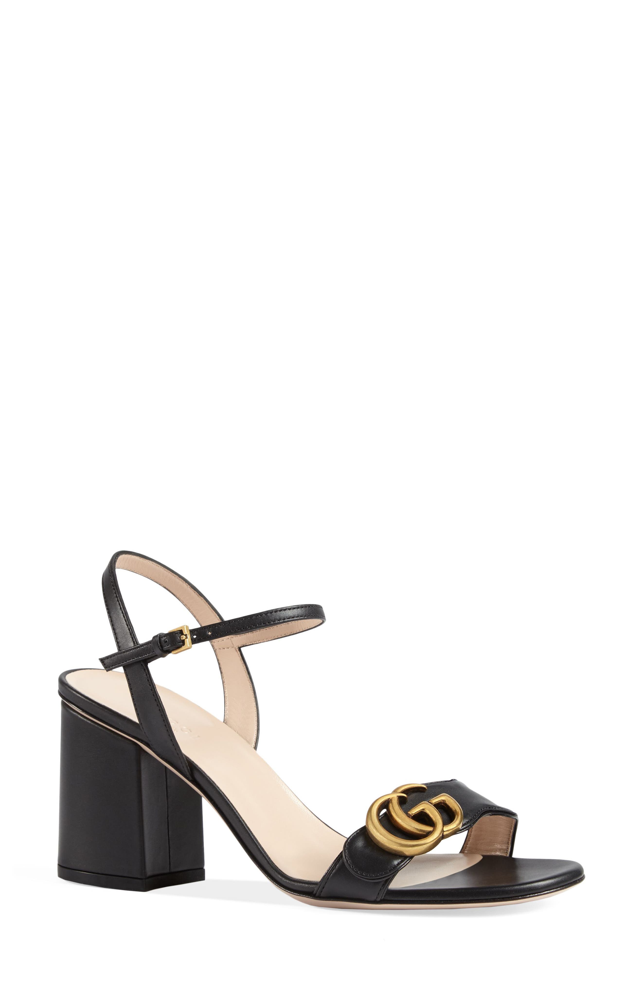 GUCCI, GG Marmont Sandal, Main thumbnail 1, color, BLACK LEATHER